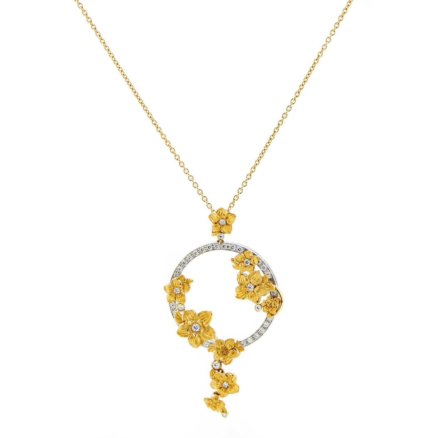 Emperatriz Bouquet Maxi 18K Gold Diamond Pendant Necklace
