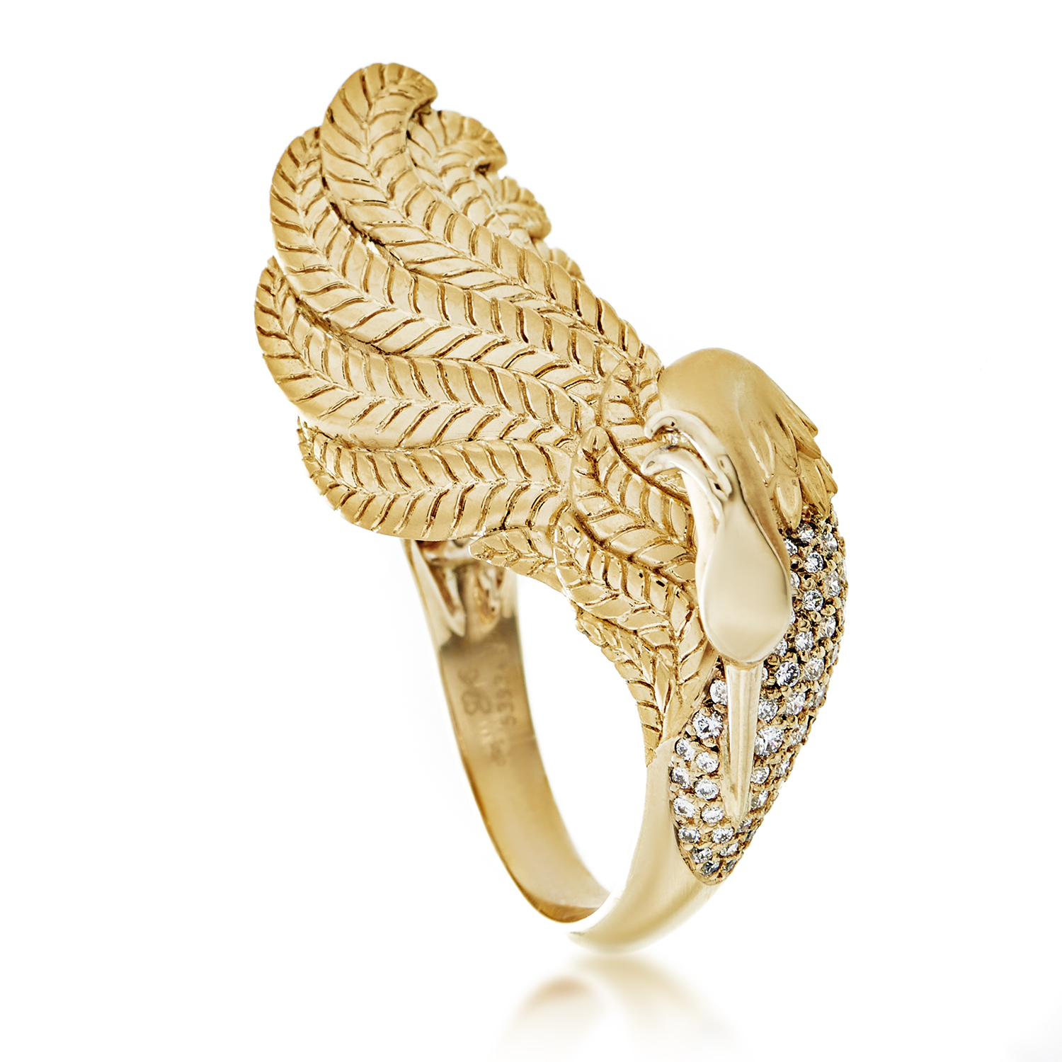 Garzas Medium Women's 18K Yellow Gold Diamond Pave Bird Ring