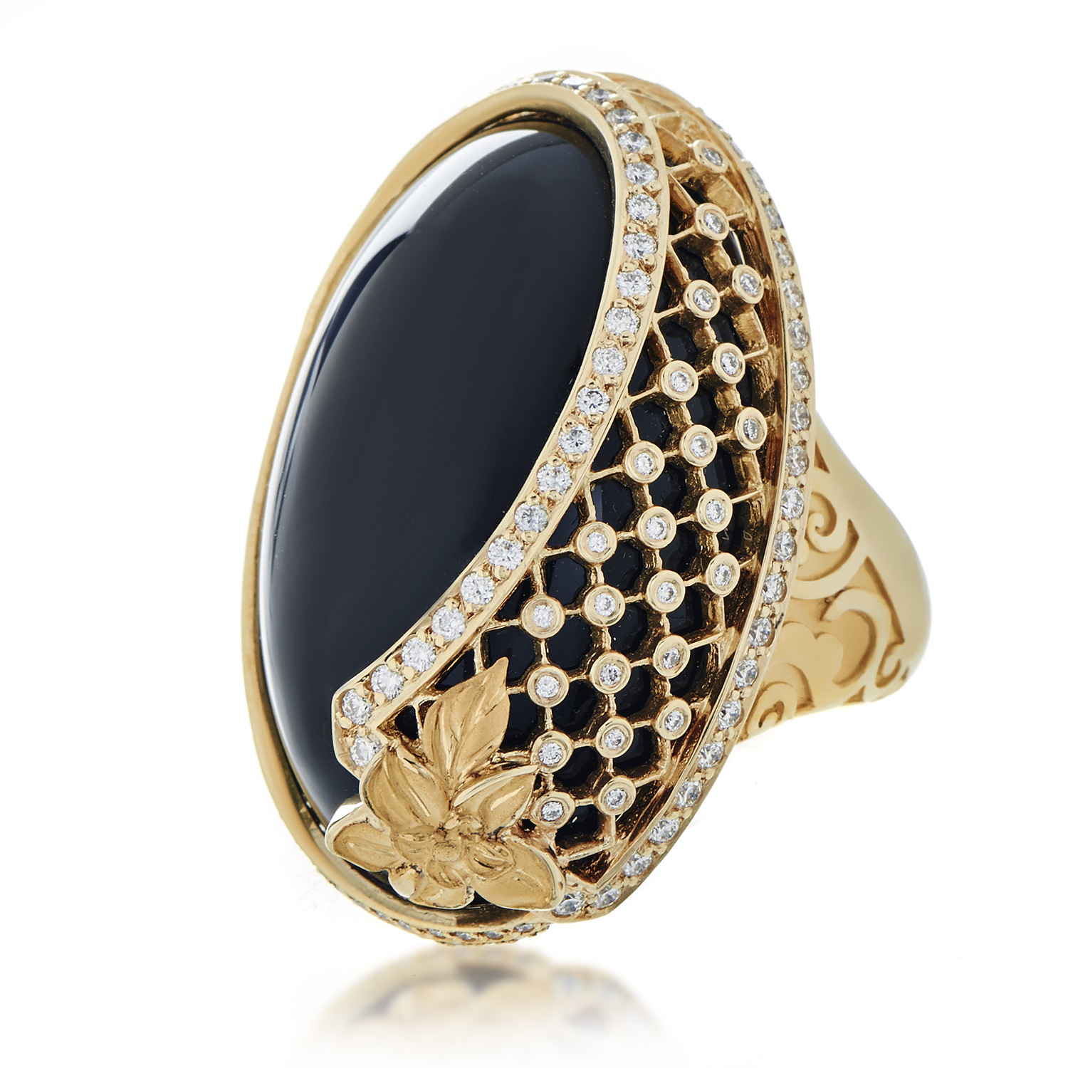Sierpes Maxi 18K Yellow Gold Diamond & Onyx Cocktail Ring