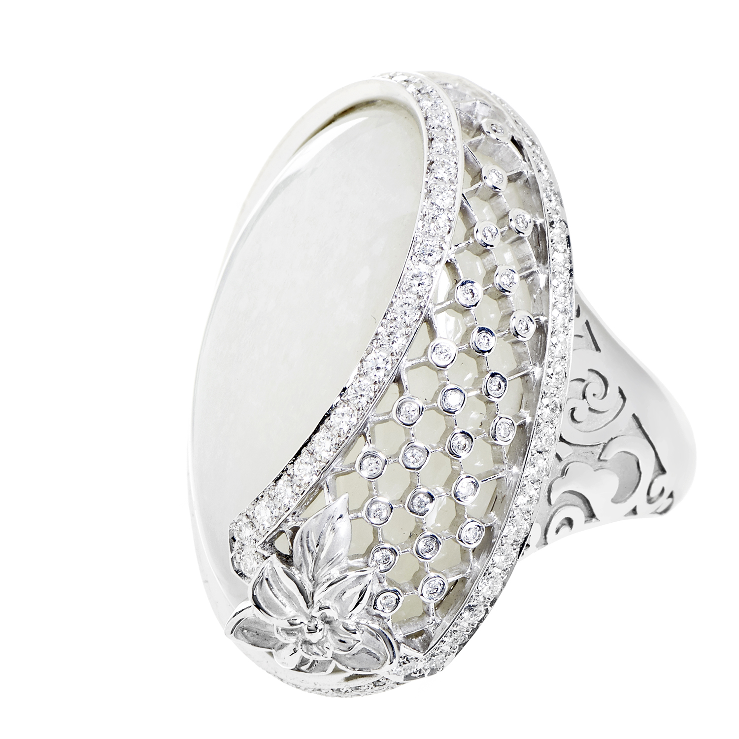 Sierpes Maxi 18K White Gold Diamond & Moonstone Cocktail Ring