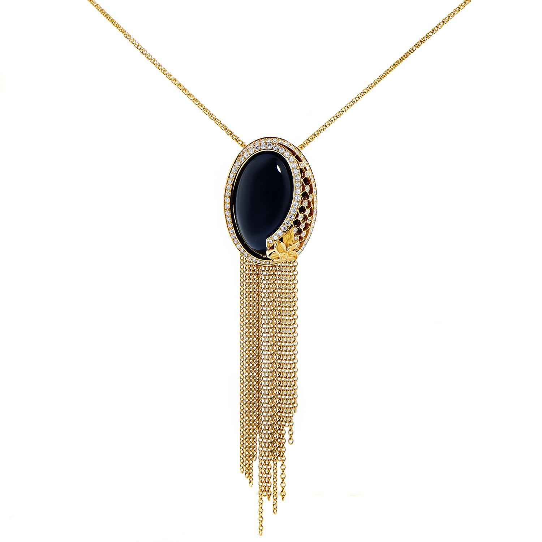 Sierpes Maxi 18K Yellow Gold Diamond & Onyx Pendant Necklace