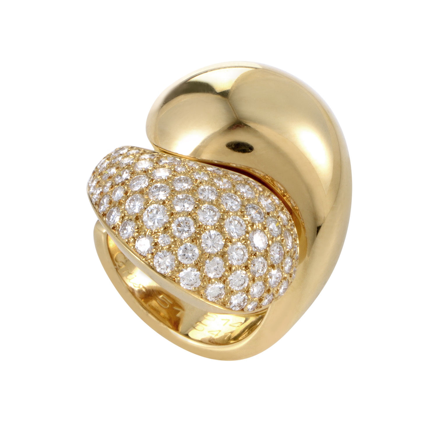 Cartier Le Yin et Le Yang Women's 18K Yellow Gold Partial Diamond Pave Ring