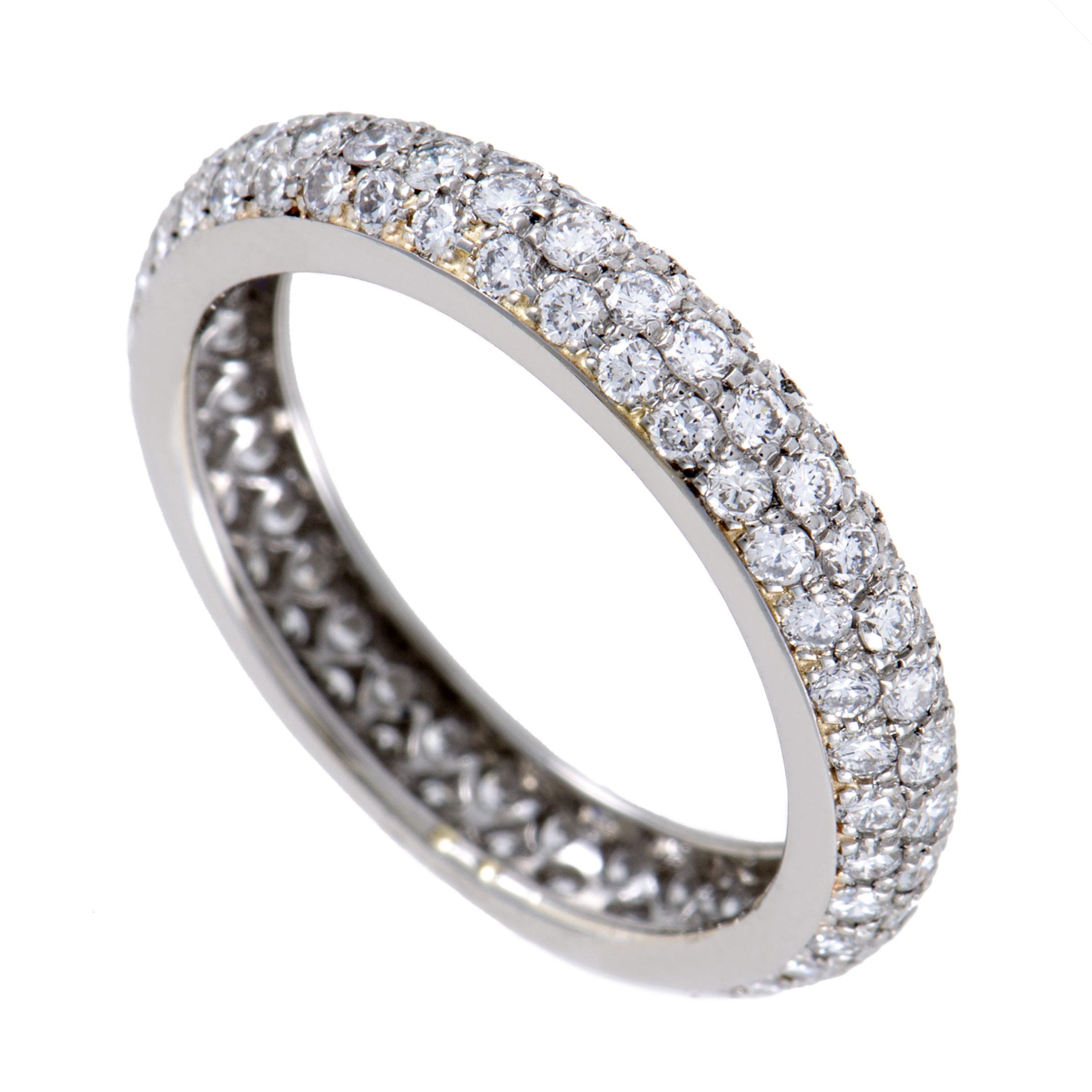Pavé Bands: Cartier Womens Platinum Diamond Pave Band Ring