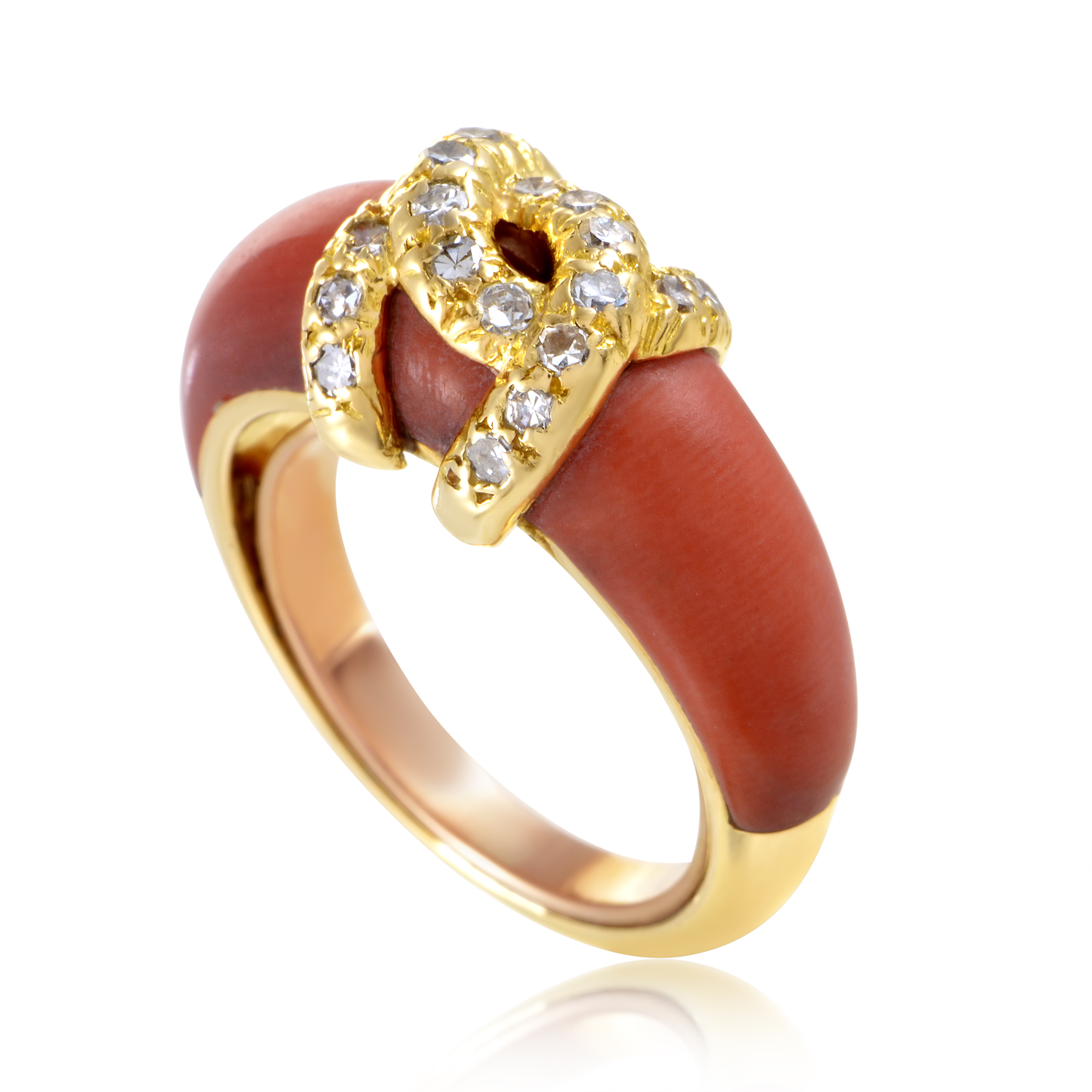 cartier vintage women 39 s 18k yellow gold diamond coral band. Black Bedroom Furniture Sets. Home Design Ideas
