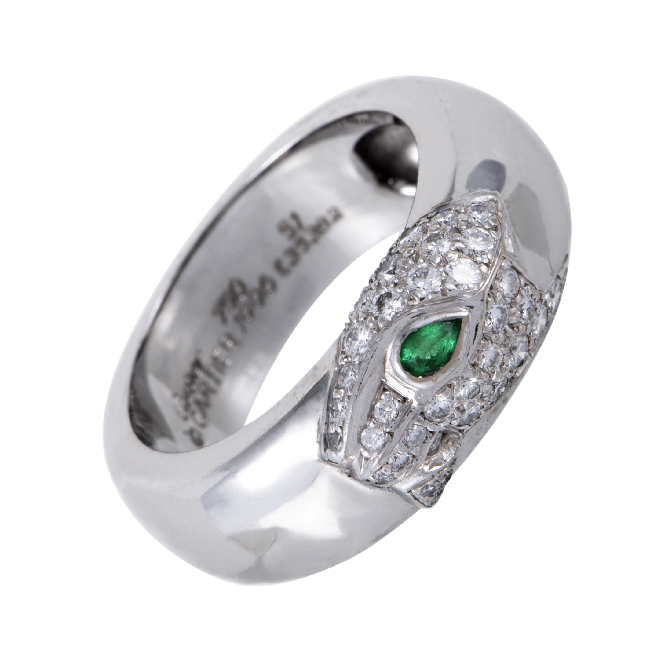 cartier panthere womens 18k white gold diamond and emerald. Black Bedroom Furniture Sets. Home Design Ideas
