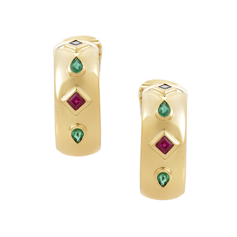 Cartier Precious Gemstone 18K Yellow Gold Huggie Clip-On Earrings