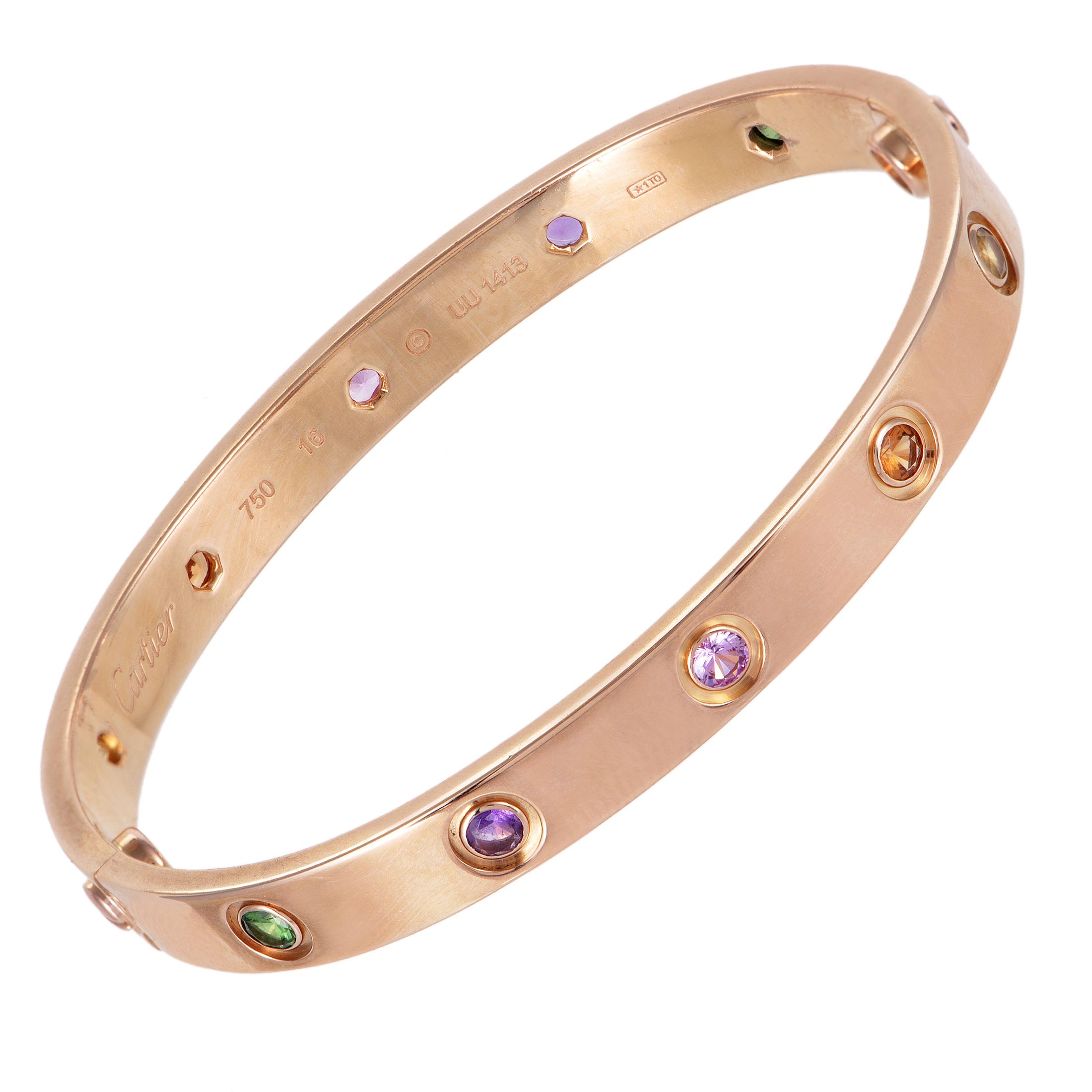 cartier love womens 18k rose gold multiple gemstone bangle. Black Bedroom Furniture Sets. Home Design Ideas