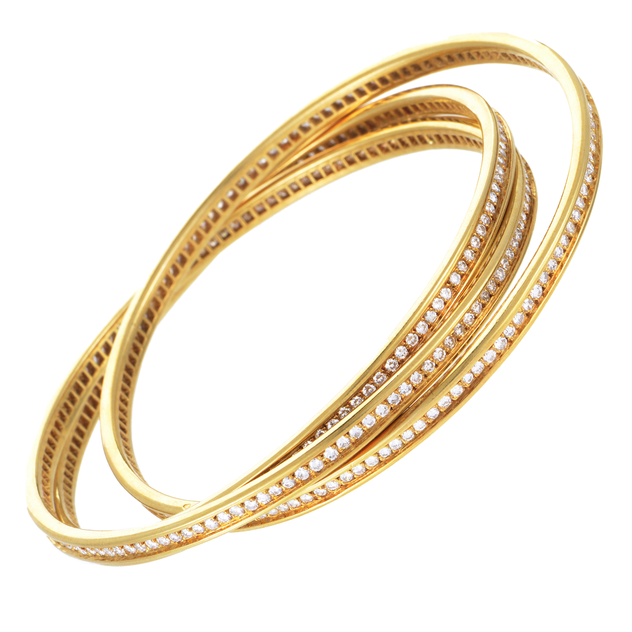 Cartier Womens 18k Yellow Gold Diamond Pave Rolling Bangle. Choker Necklace. Yellow Rings. Iconic Bracelet. Rope Pendant. Tag Rings. Real Emerald Stud Earrings. Double Row Diamond Anniversary Band. 18k Gold Earrings