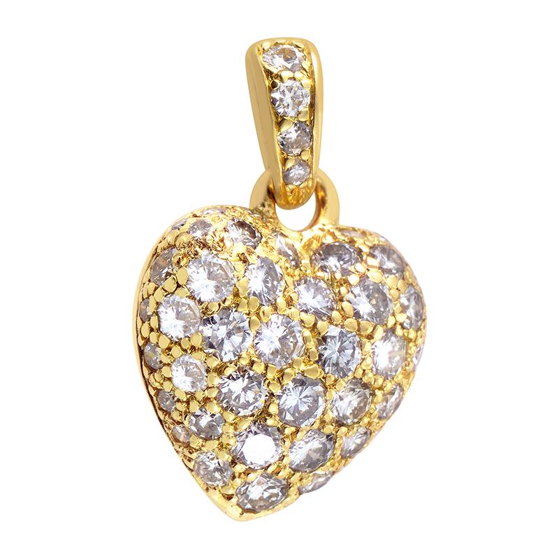 18K Yellow Gold Diamond Pave Heart Pendant