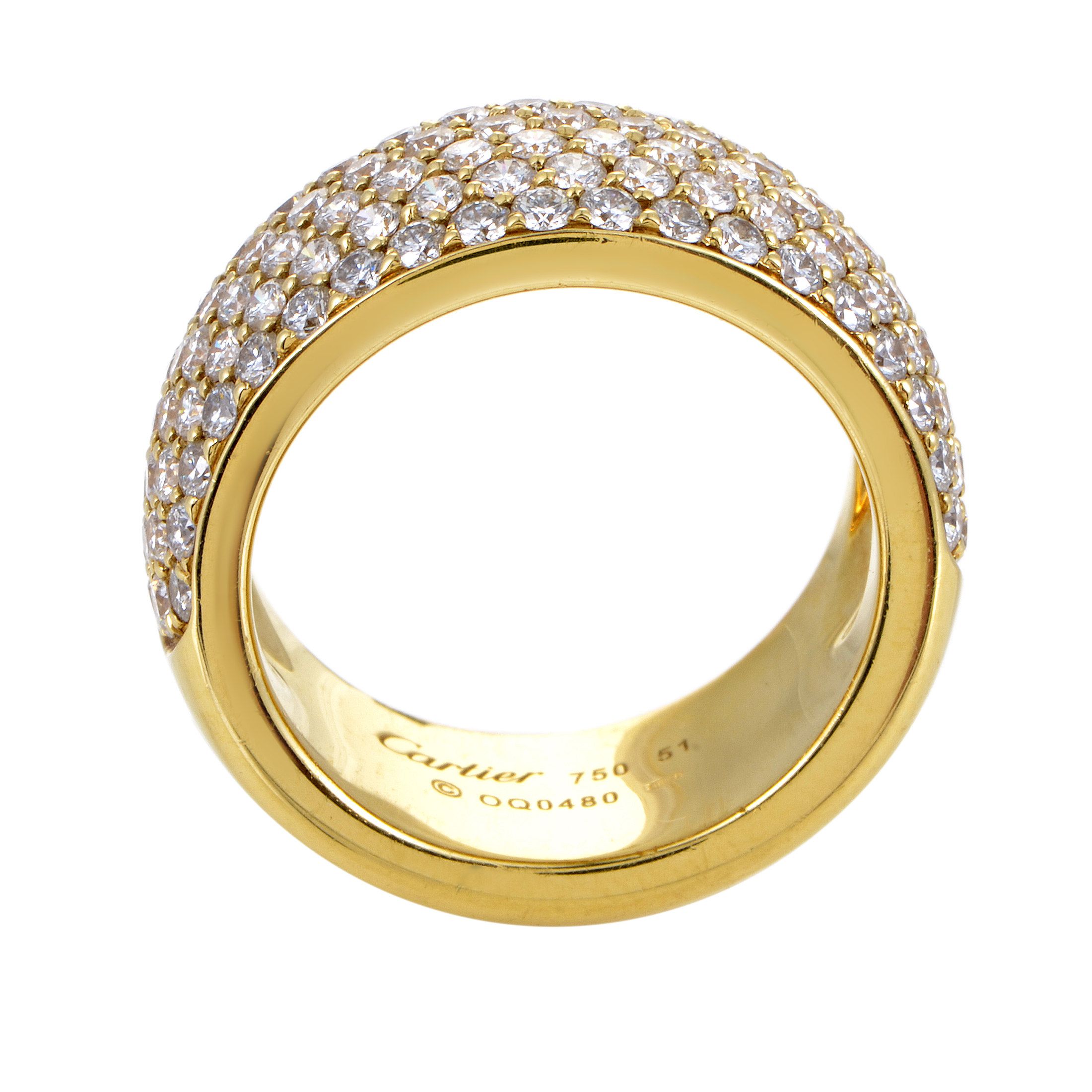 cartier women 39 s 18k yellow gold diamond pave band ring ebay. Black Bedroom Furniture Sets. Home Design Ideas