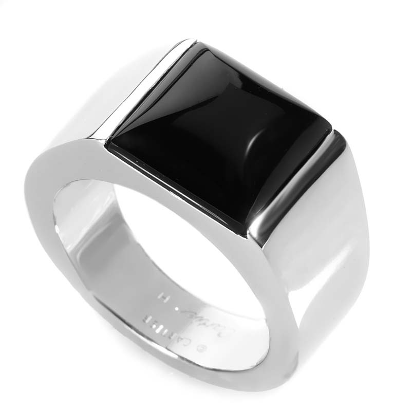 Cartier Tank 18K White Gold Onyx Ring