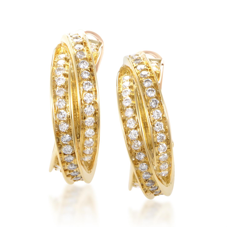 Cartier Women's Trinity 18K Yellow Gold Diamond Hoop Clip-on Earrings AK1B3936