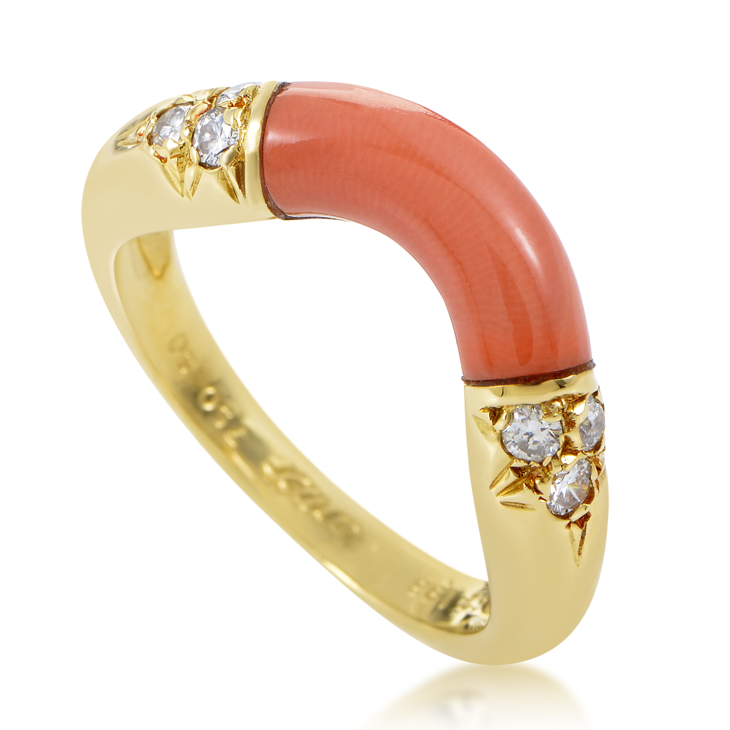 Cartier Women's Curved 18K Yellow Gold Diamond & Coral Band Ring