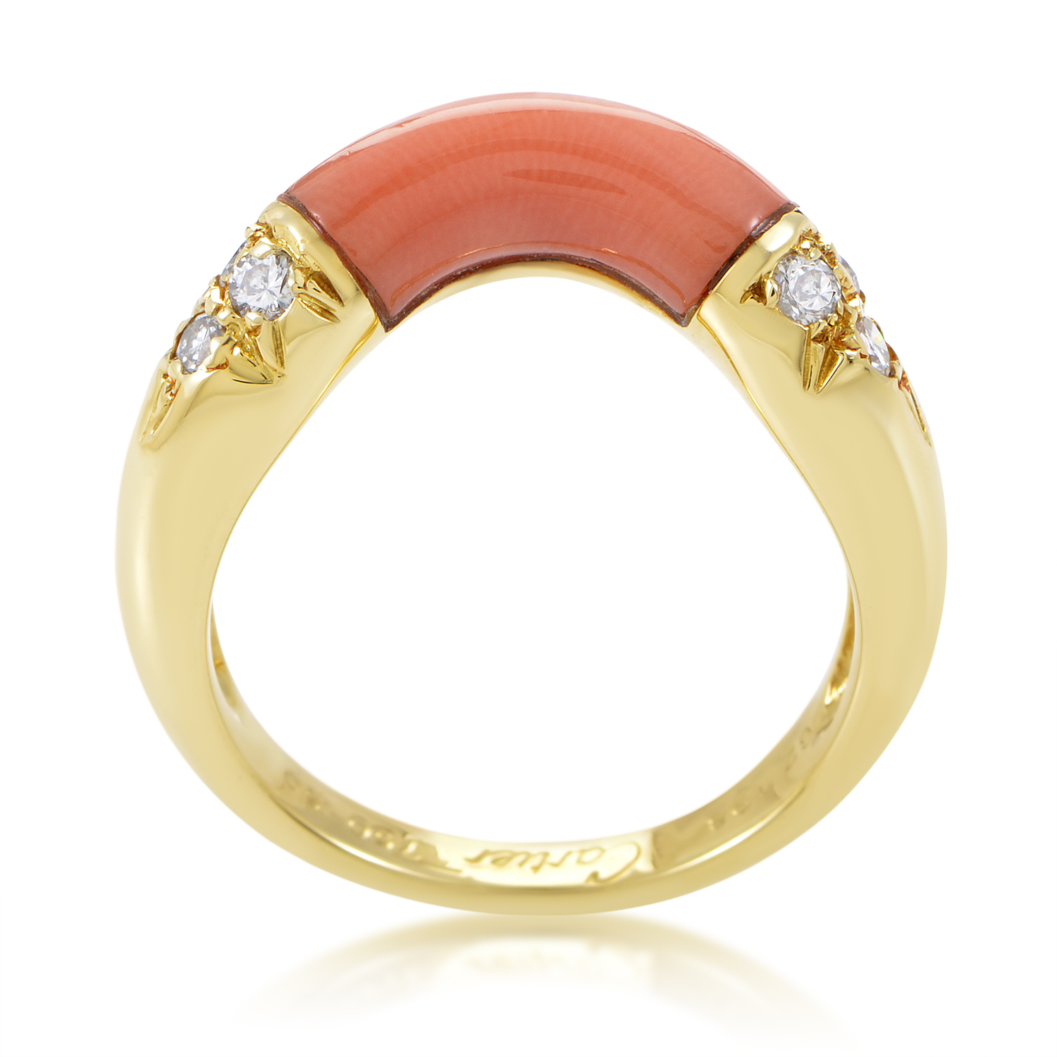 cartier women 39 s curved 18k yellow gold diamond coral. Black Bedroom Furniture Sets. Home Design Ideas
