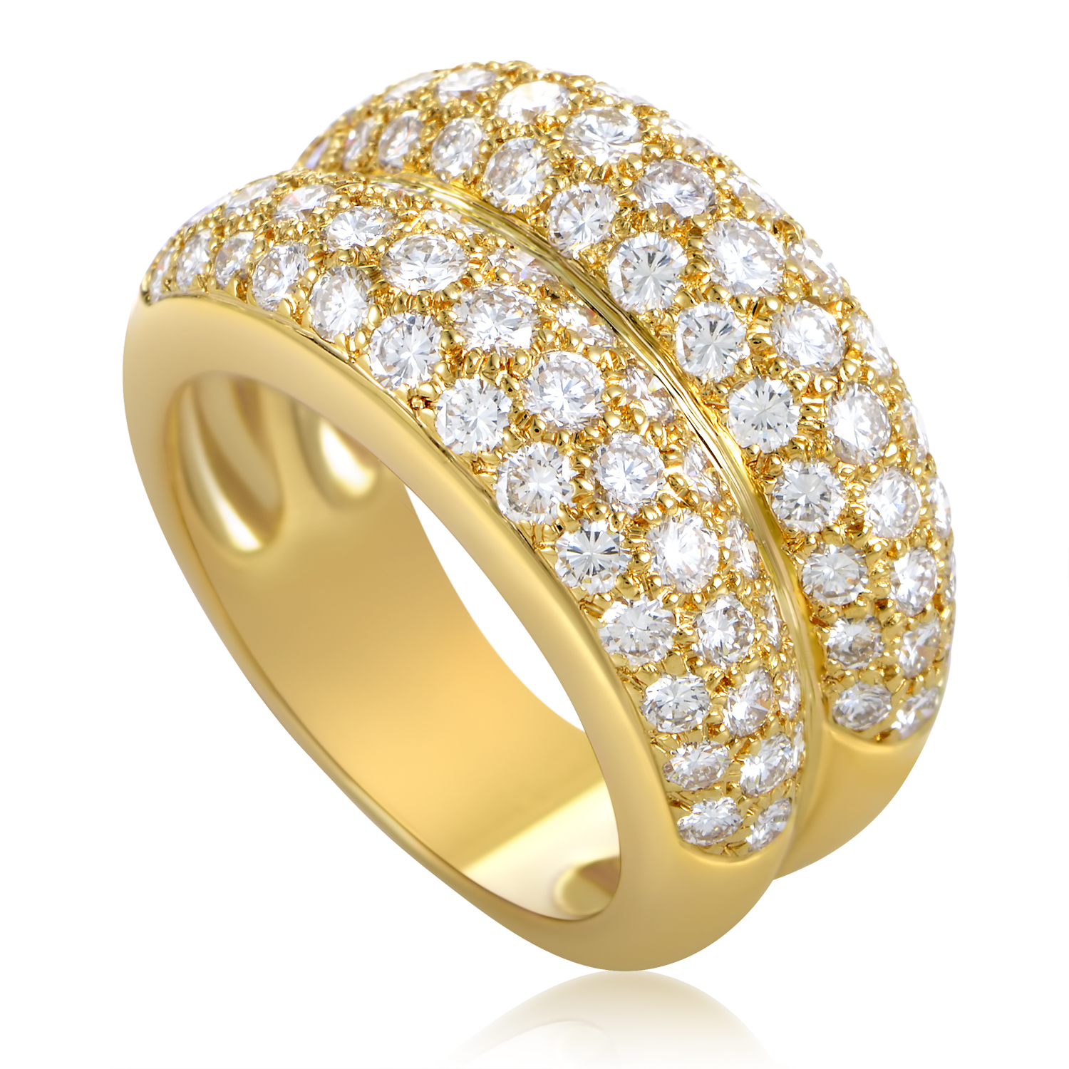 Cartier Women's 18K Yellow Gold Diamond Pave Double Band Ring