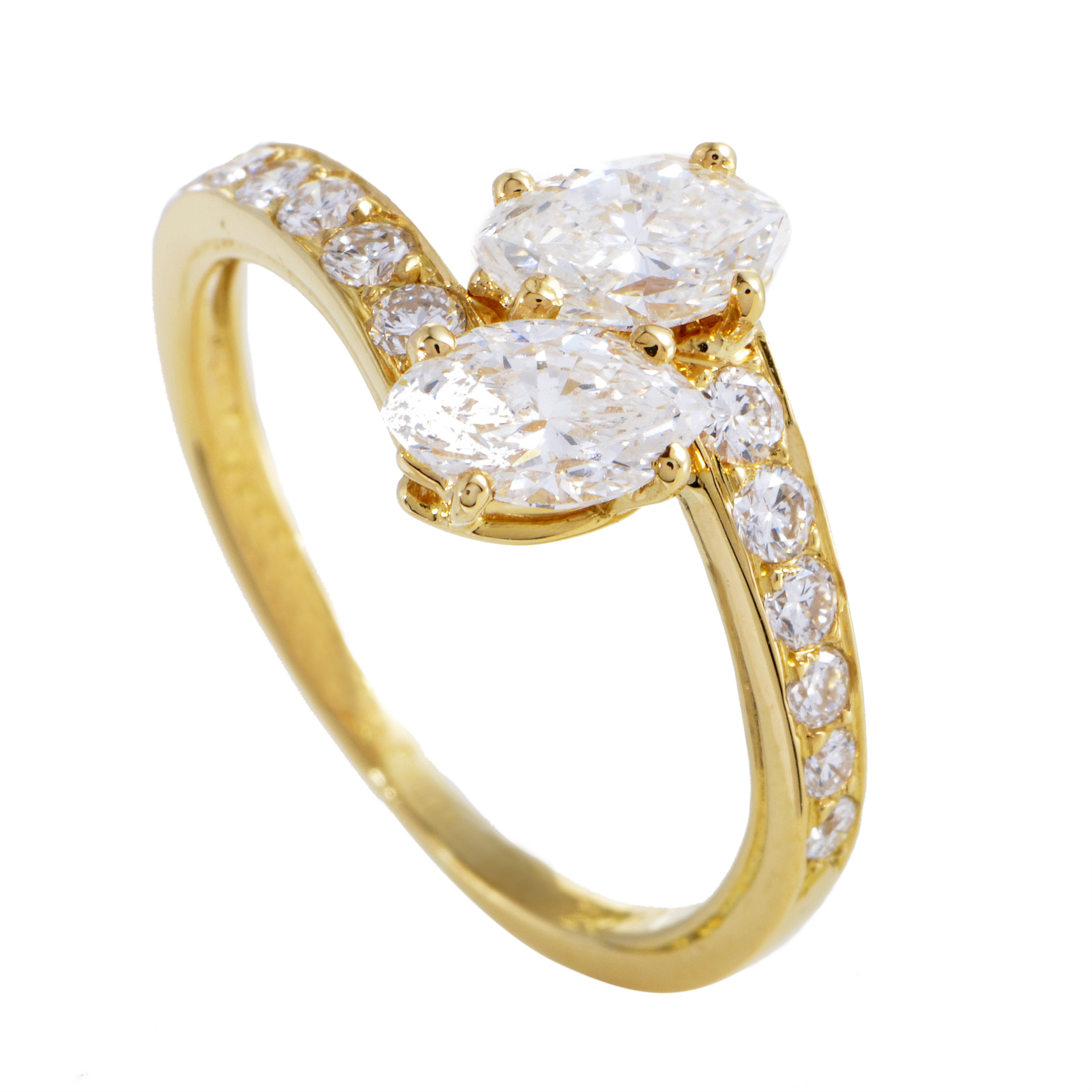 cartier womens 18k yellow gold marquise and round diamond ring. Black Bedroom Furniture Sets. Home Design Ideas