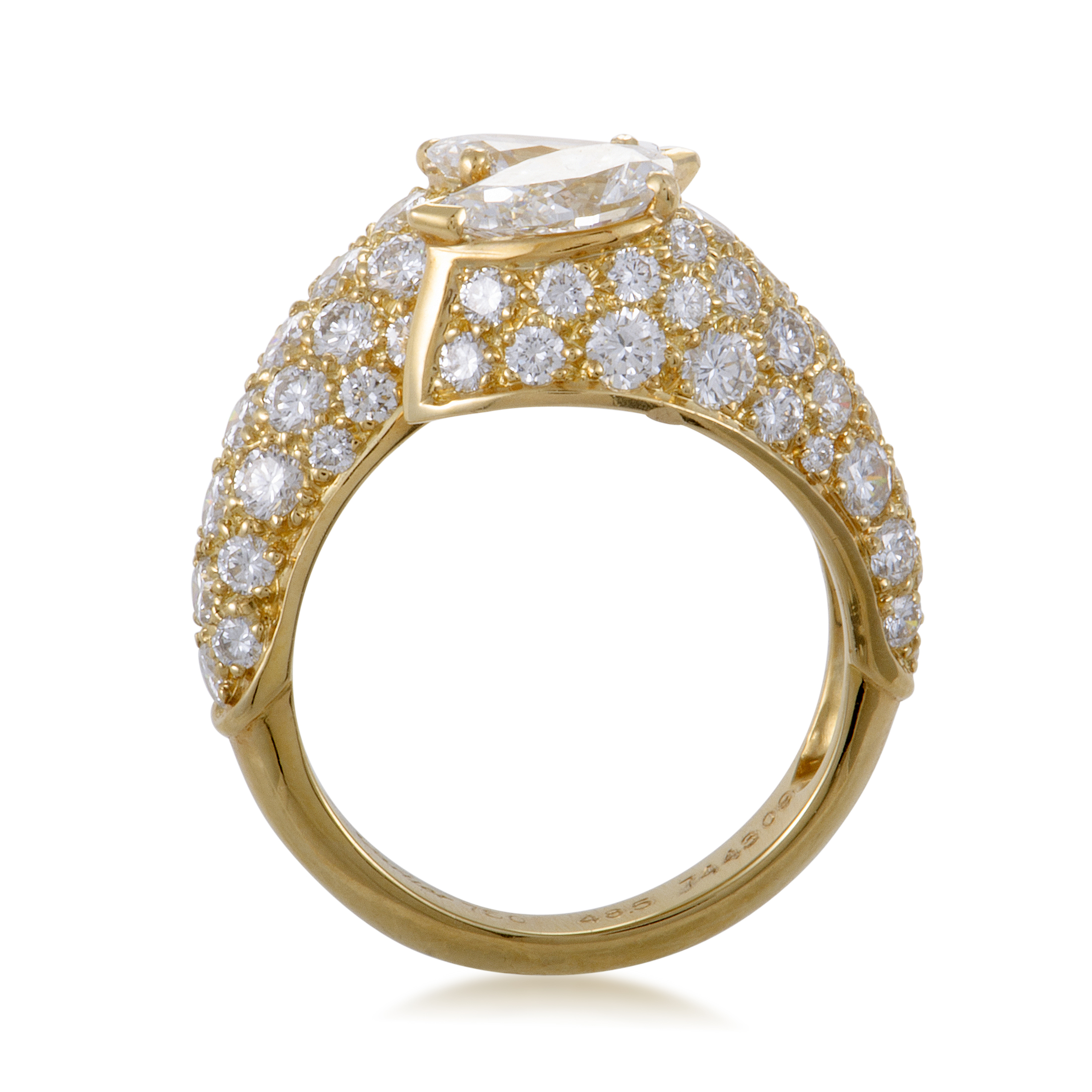 estate cartier womens 18k yellow gold diamond pave bypass. Black Bedroom Furniture Sets. Home Design Ideas