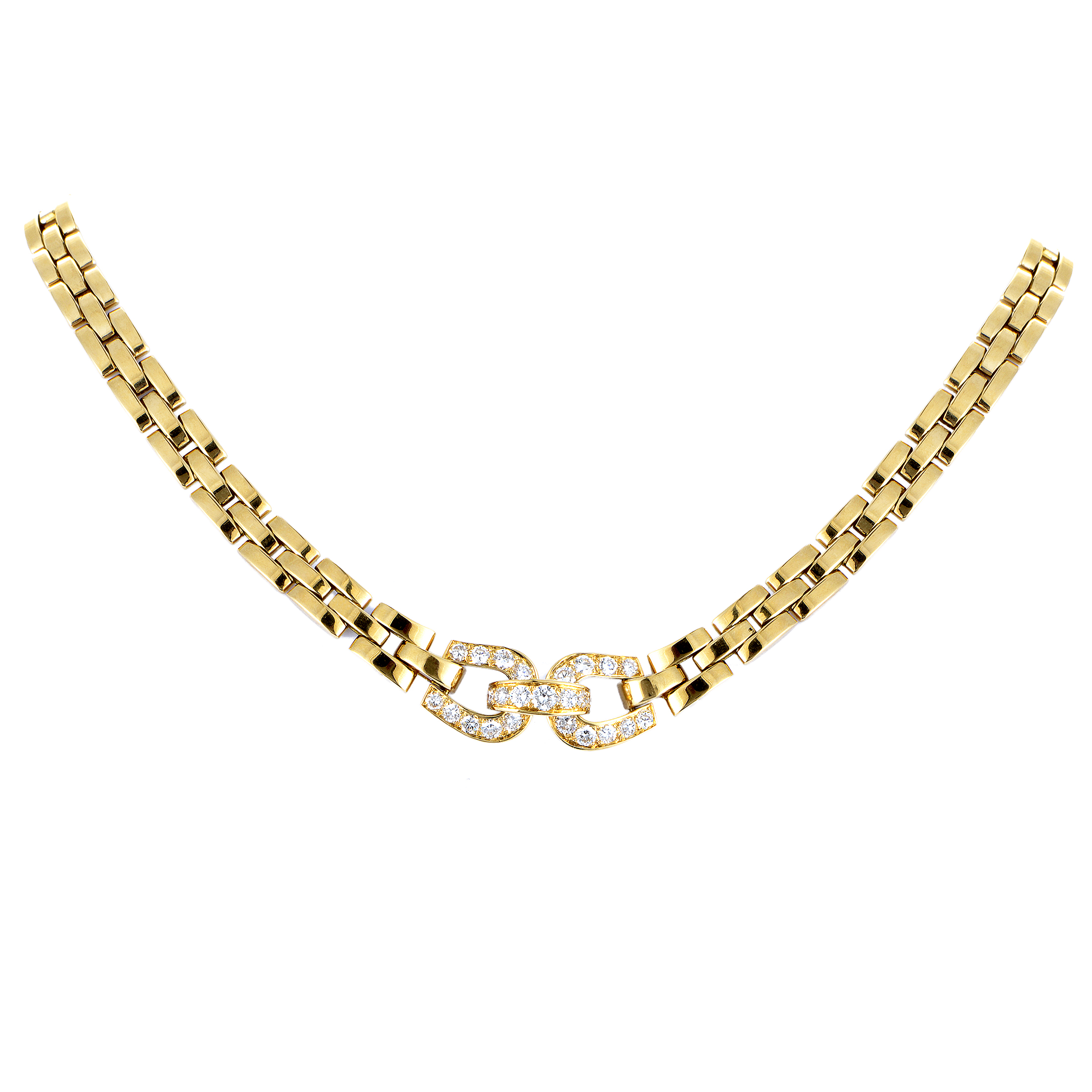 Cartier Maillon Panthere Women's 18K Yellow Gold Diamond Collar Necklace