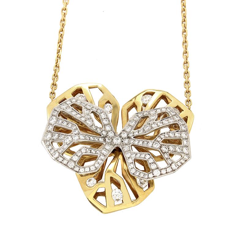 Caresse d'Orchidees Women's Diamond Multi-Gold Pendant Necklace