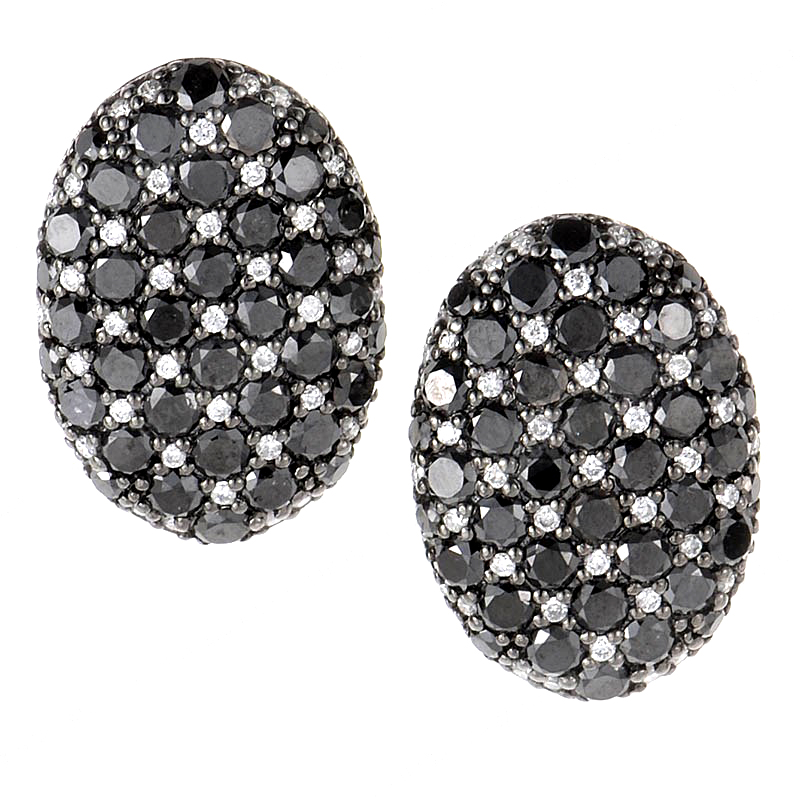 18K White Gold Black & White Diamond Earrings CED9005