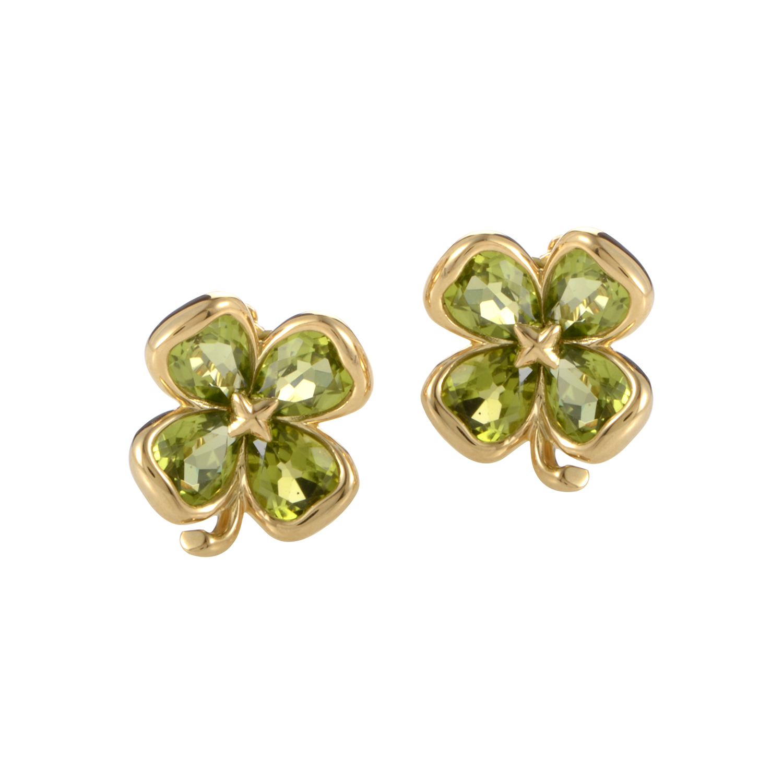 Chanel 18K Yellow Gold Peridot Earrings