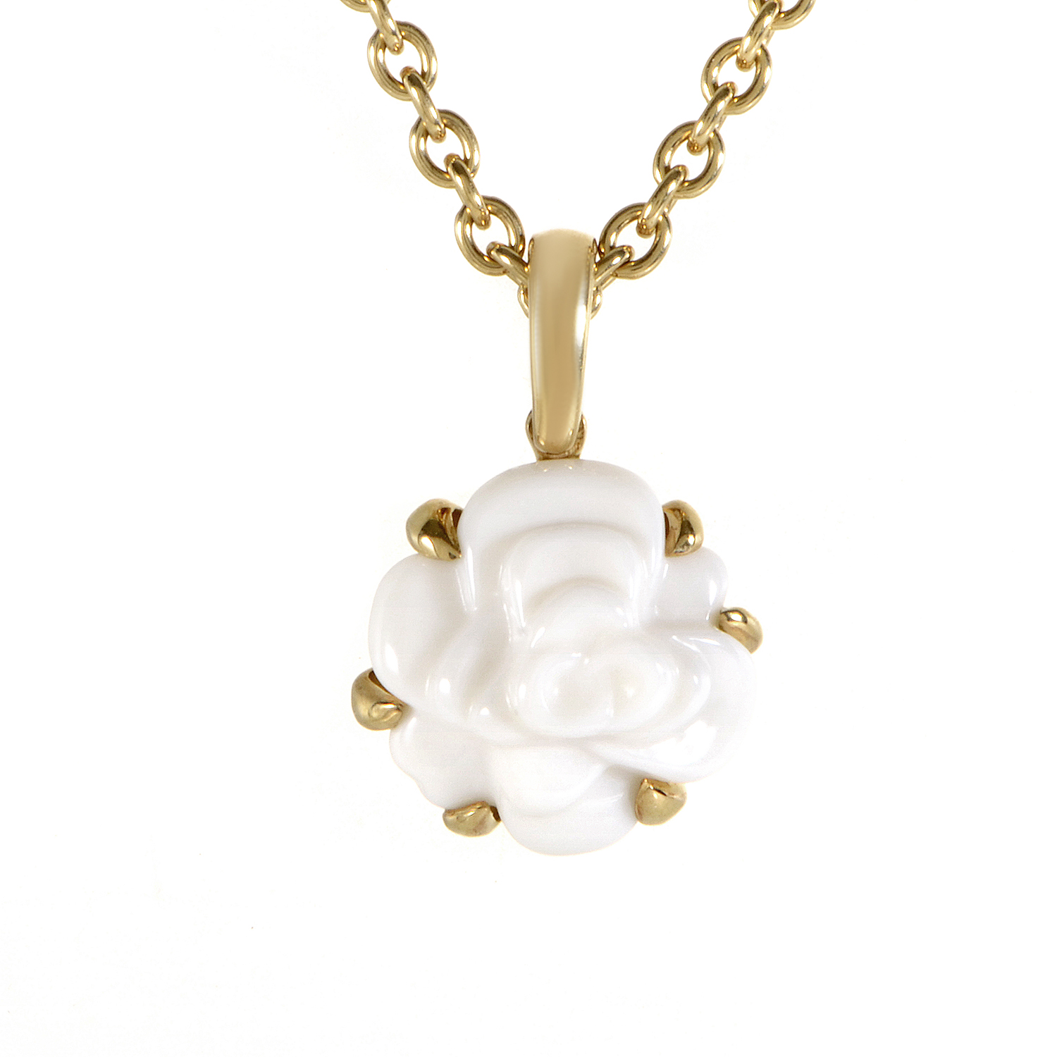 Chanel Camelia 18K Yellow Gold White Agate Pendant Necklace