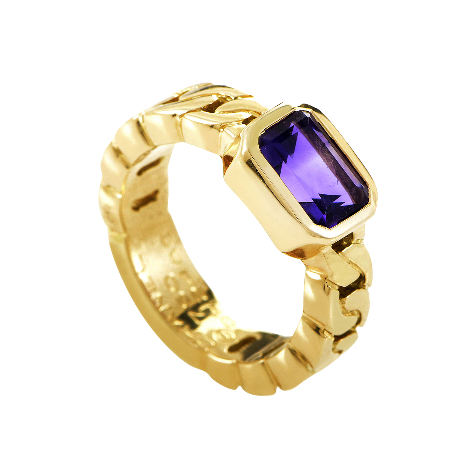 Chanel 18K Yellow Gold Amethyst Ring AK1B2278
