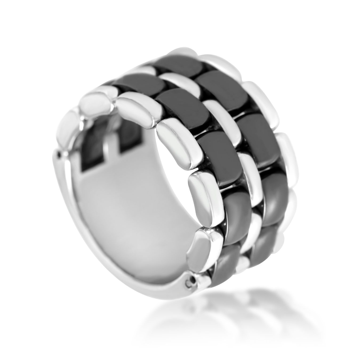Chanel Ultra 18K White Gold Hematite Band Ring