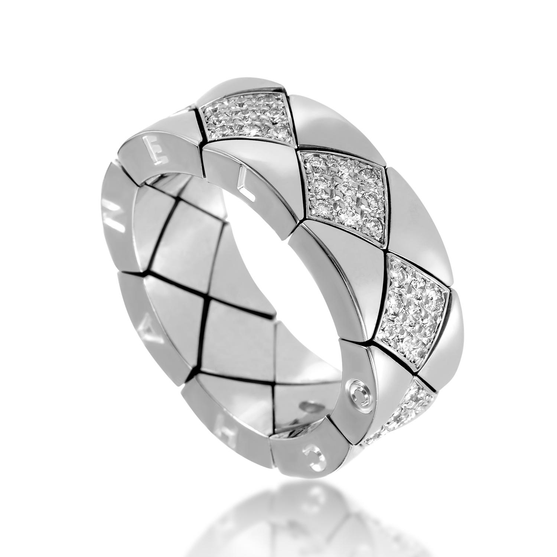 Chanel Matelasse Women's 18K White Gold Diamond Band Ring AK1B2954