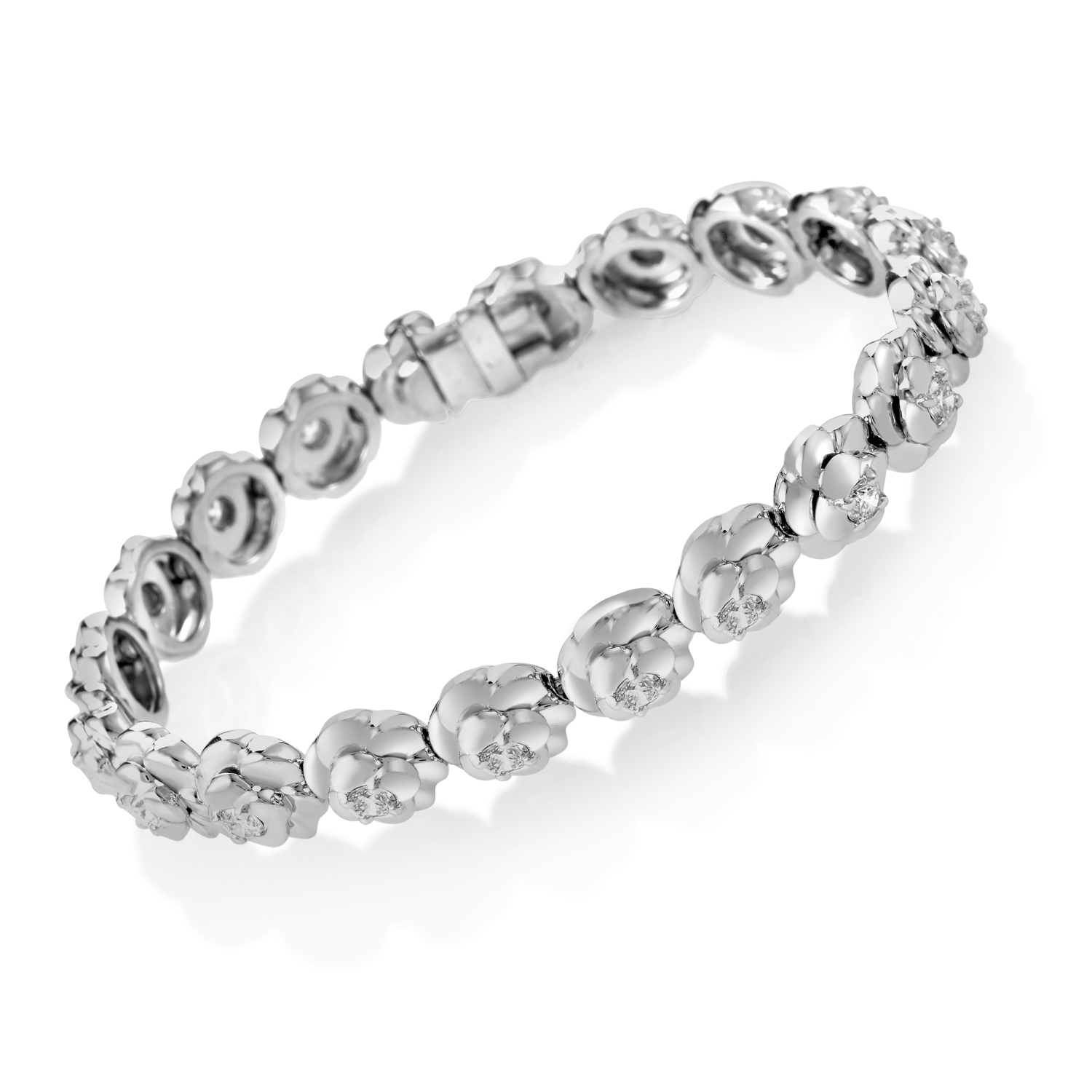 Chanel Camelia 18K White Gold Diamond Bracelet AK1B764