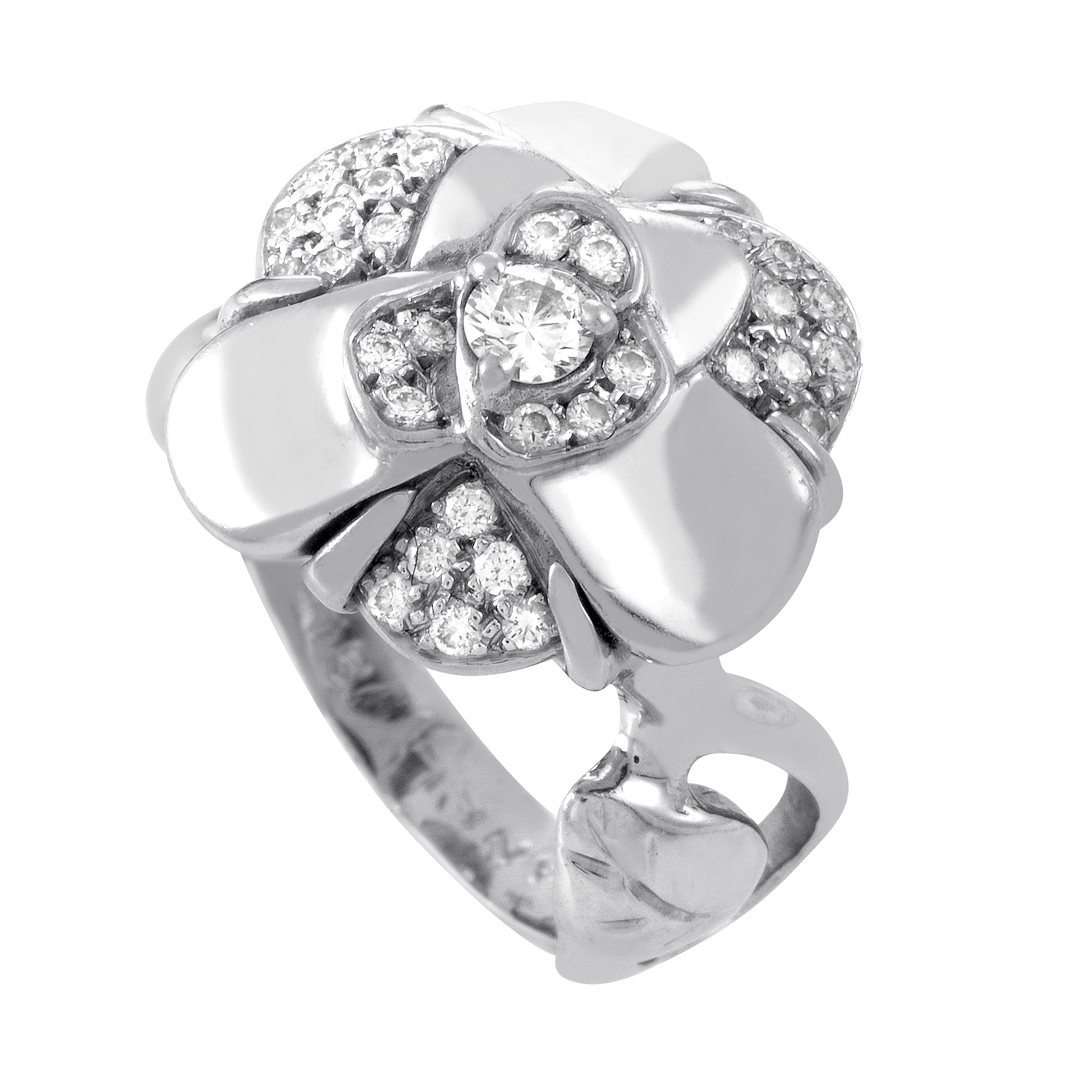 Chanel Camelia 18K White Gold Partial Pave Ring