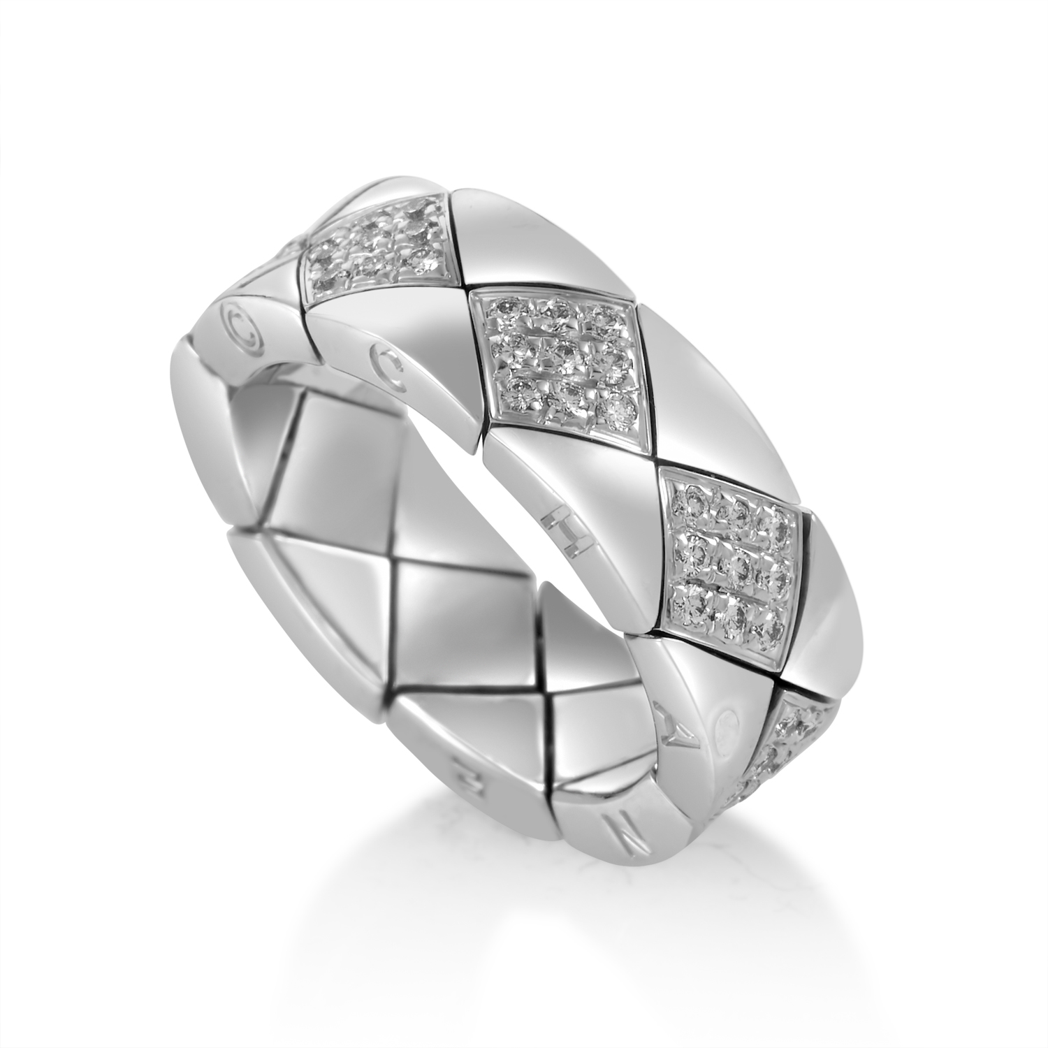 Chanel Matelasse 18K White Gold Diamond Band Ring