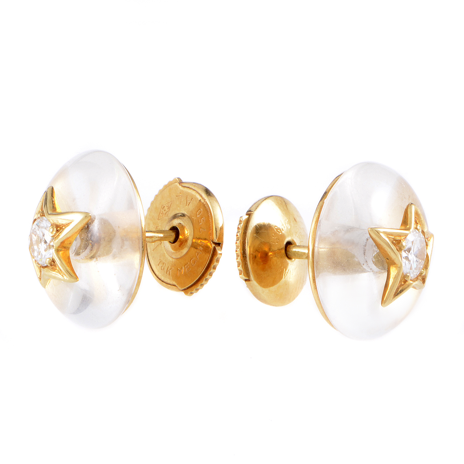 Chanel Comete 18K Yellow Gold Crystal & Diamond Stud Earrings