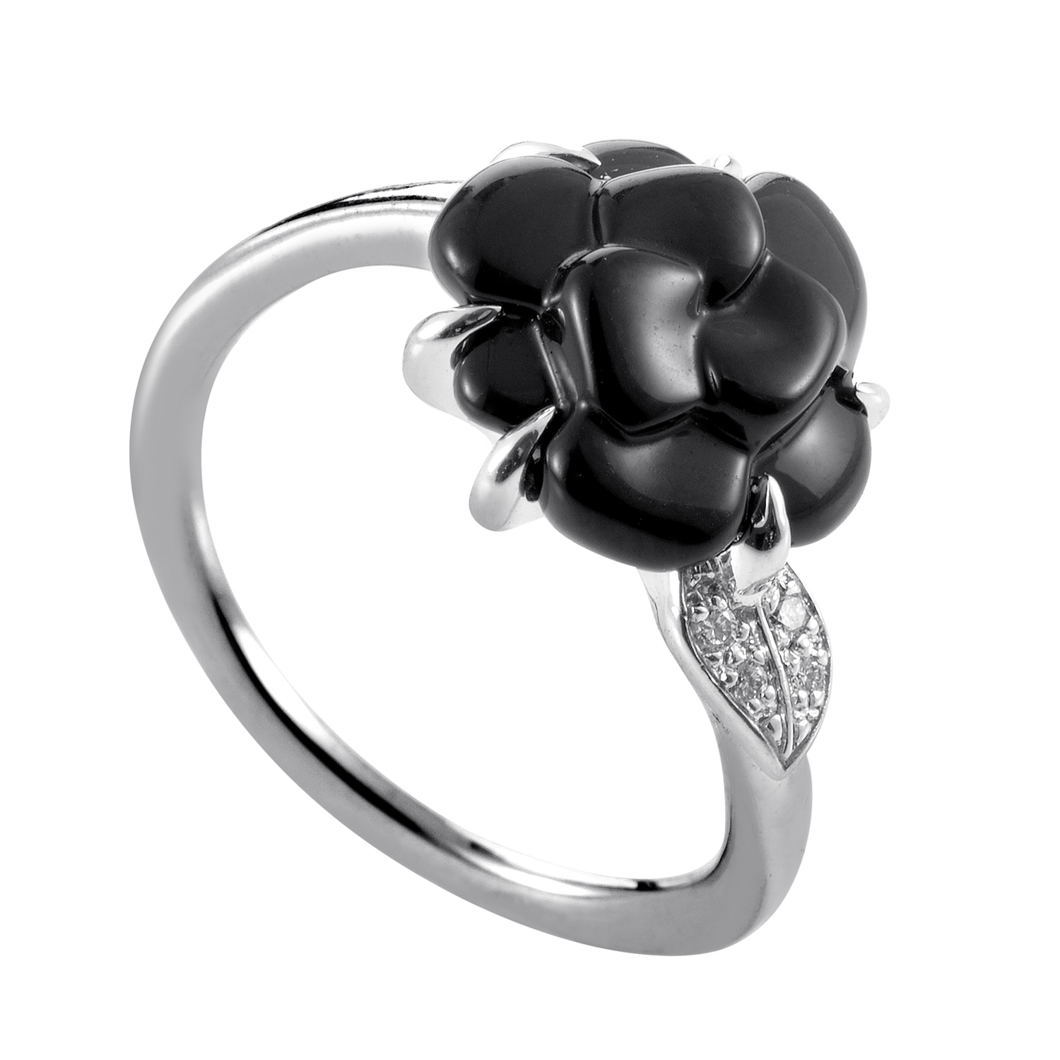 Chanel Camelia Womens 18K White Gold Diamond and Onyx Flower Ring