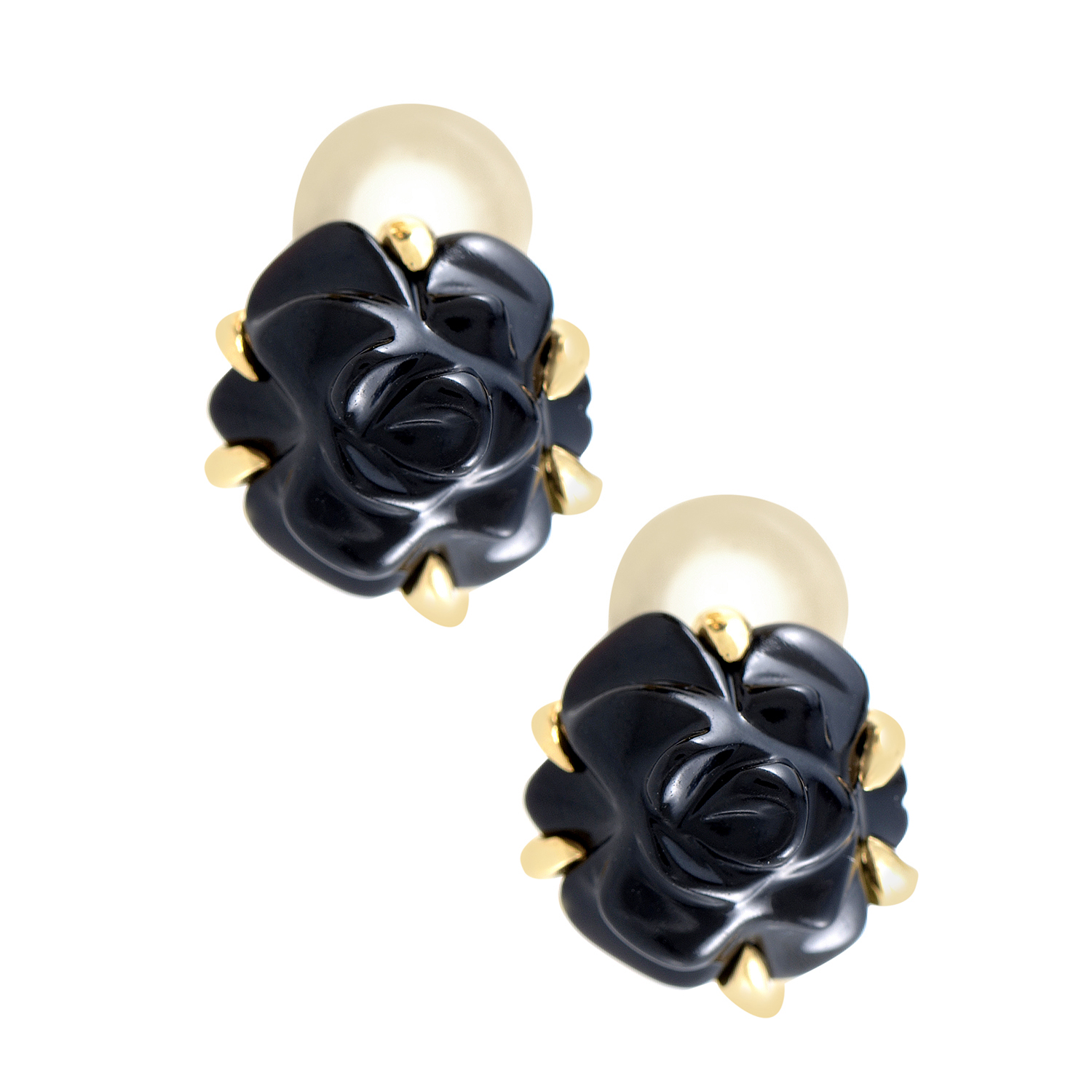Chanel Camellia 18K Yellow Gold Black Agate Clip-on Earrings AK1B2888