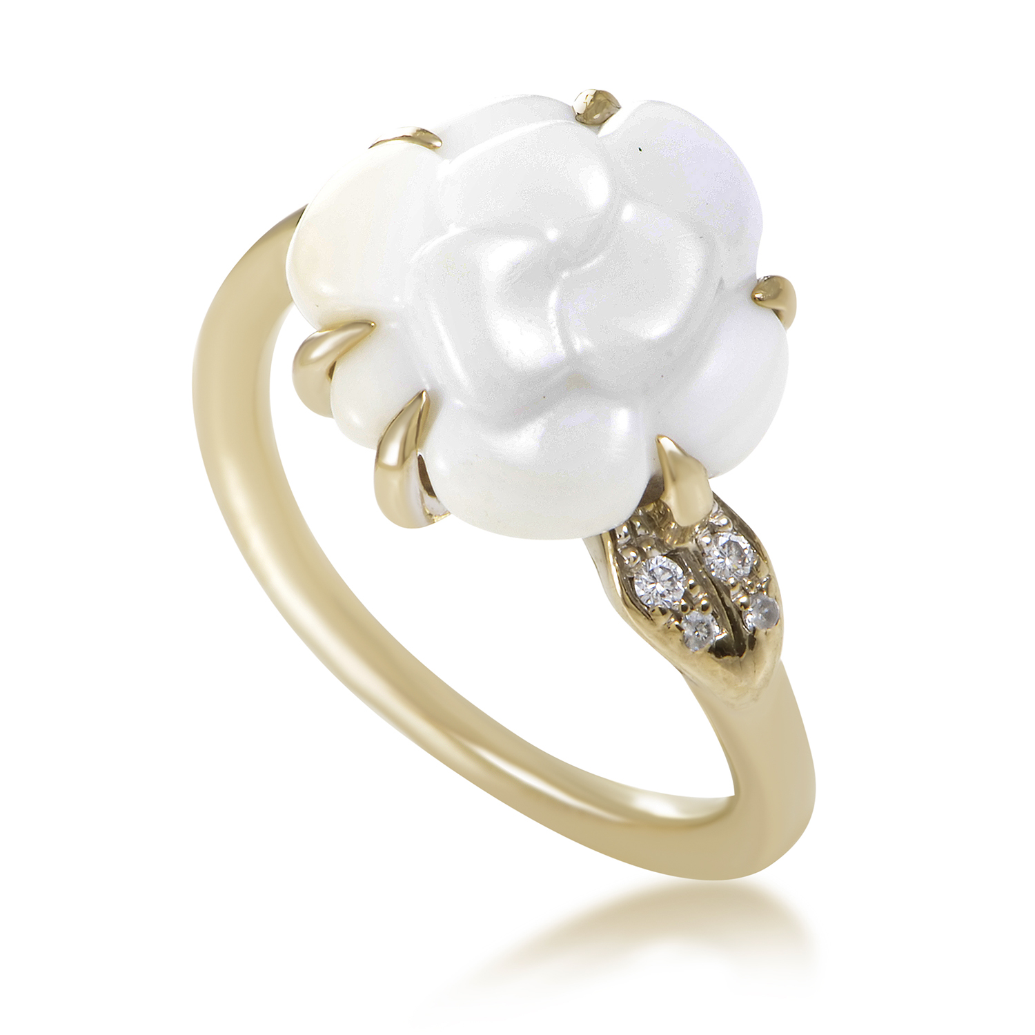 Chanel Camelia Women's 18K White Gold Diamond White Agate Flower Ring AK1B3634