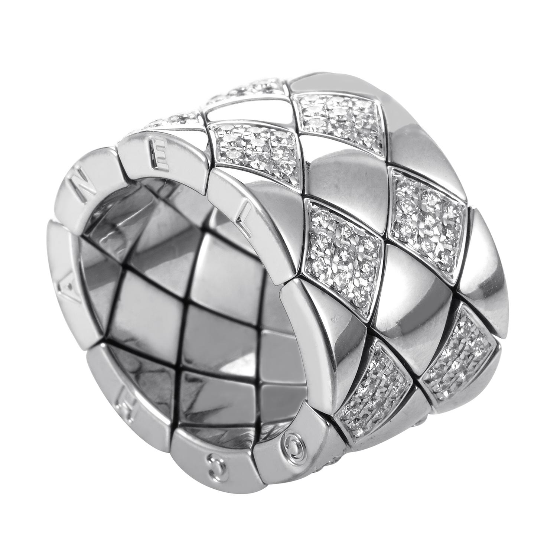 Chanel Matelasse Women's 18K White Gold Partial Diamond Pave Band Ring AK1B4058