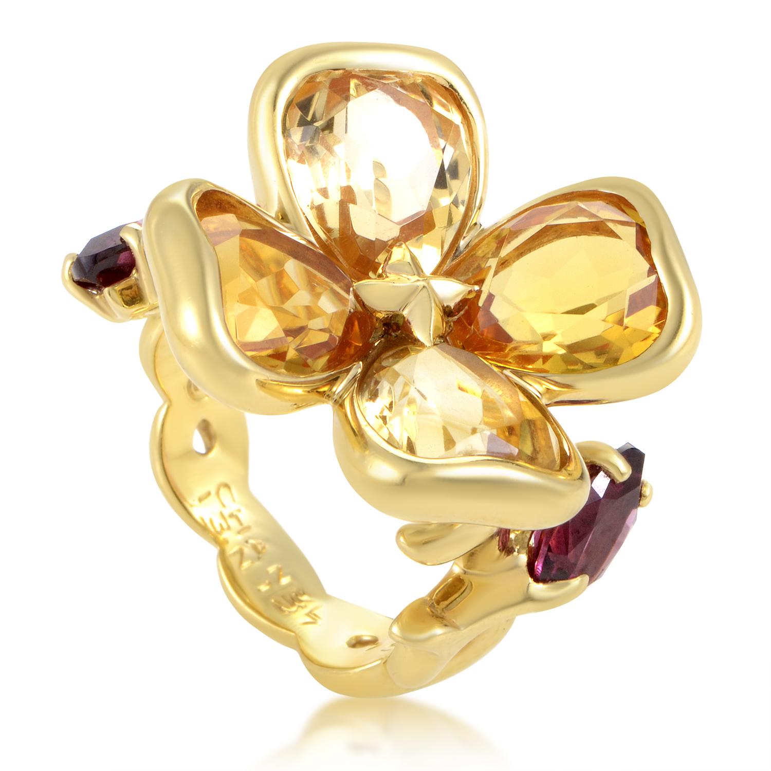 Chanel Women's 18K Yellow Gold Citrine & Rhodolite Garnet Flower Ring