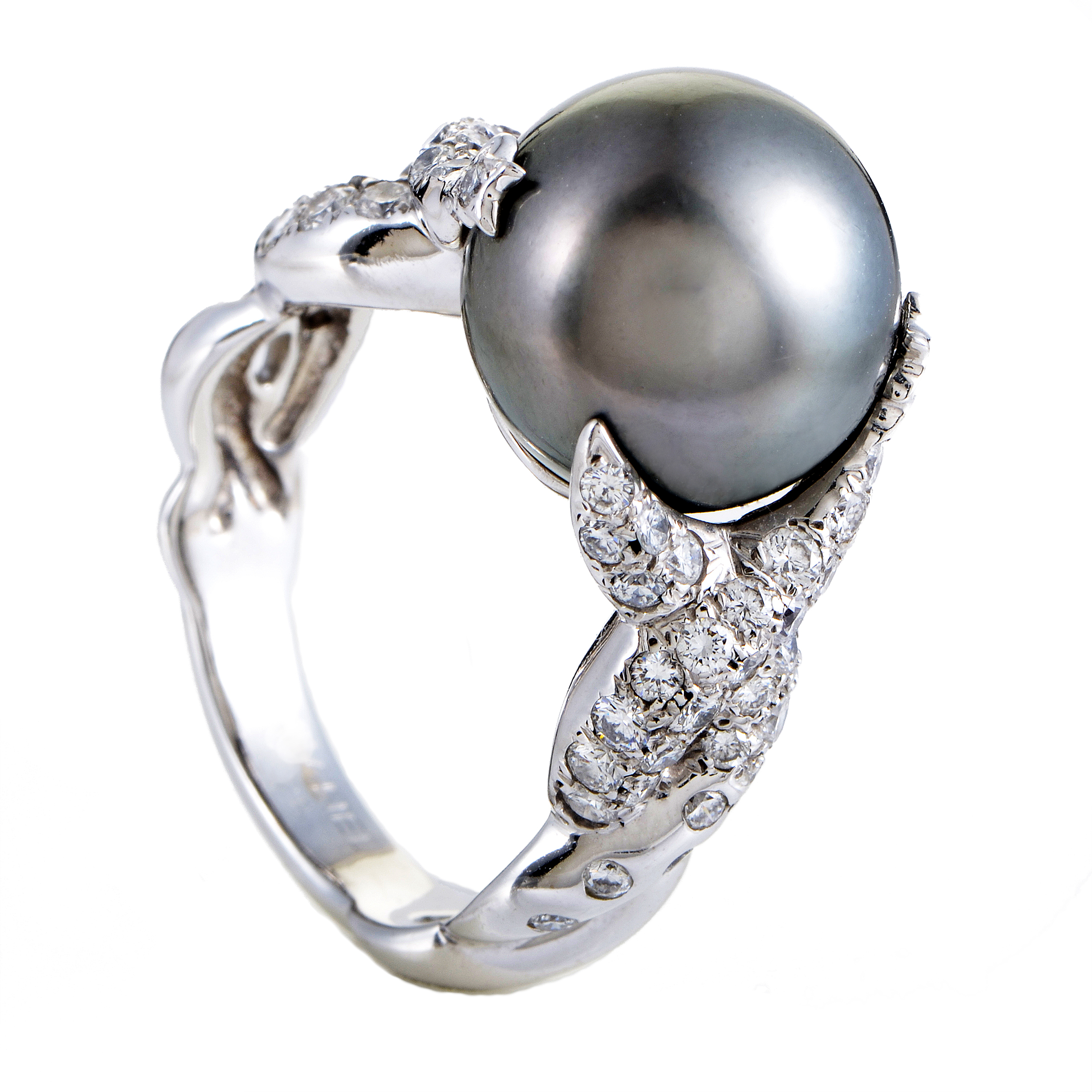 Chanel Women's 18K White Gold Diamond & 12mm Black Tahitian Pearl Ring