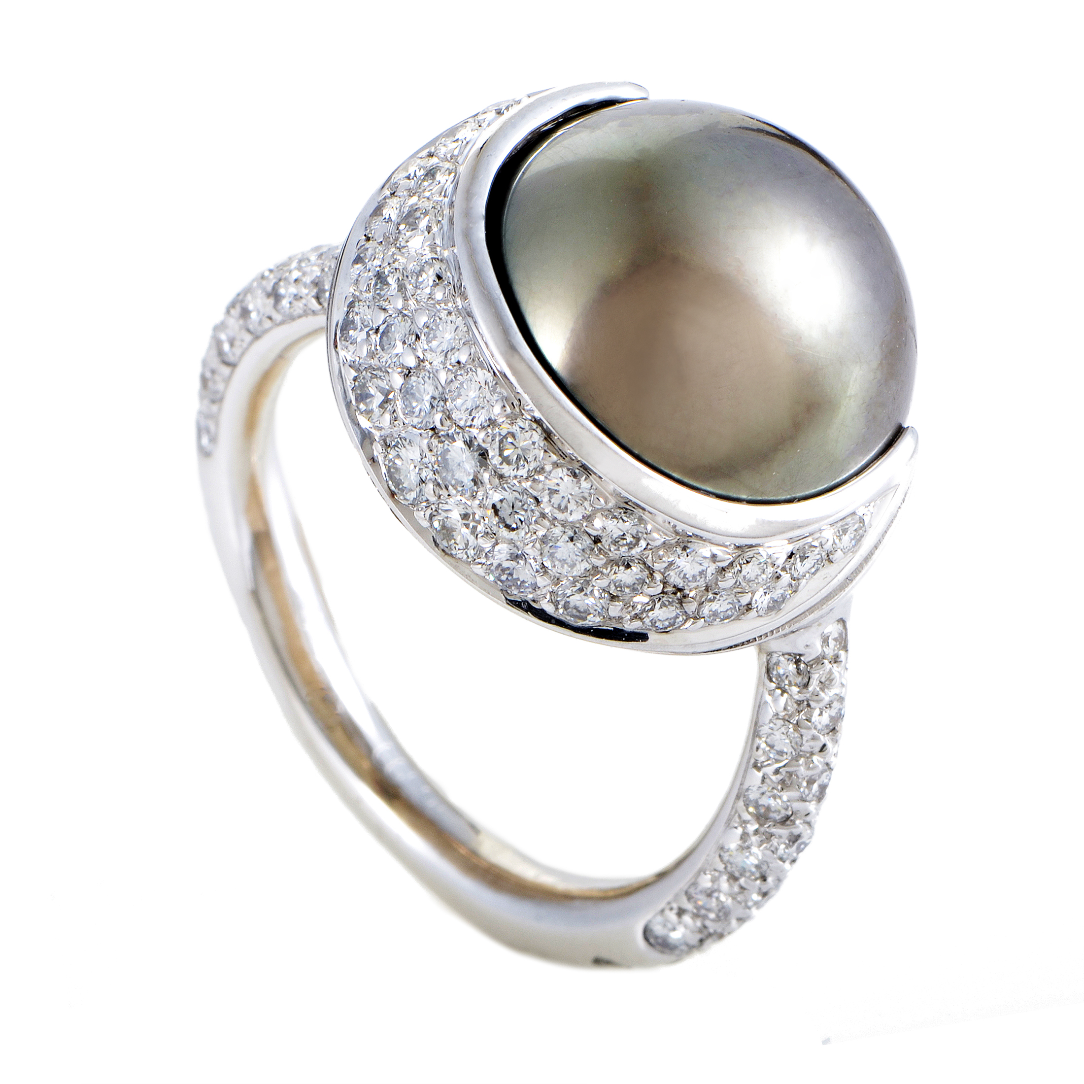Chanel Womens 18K White Gold Diamond and 13.77mm Black Tahitian Pearl Ring