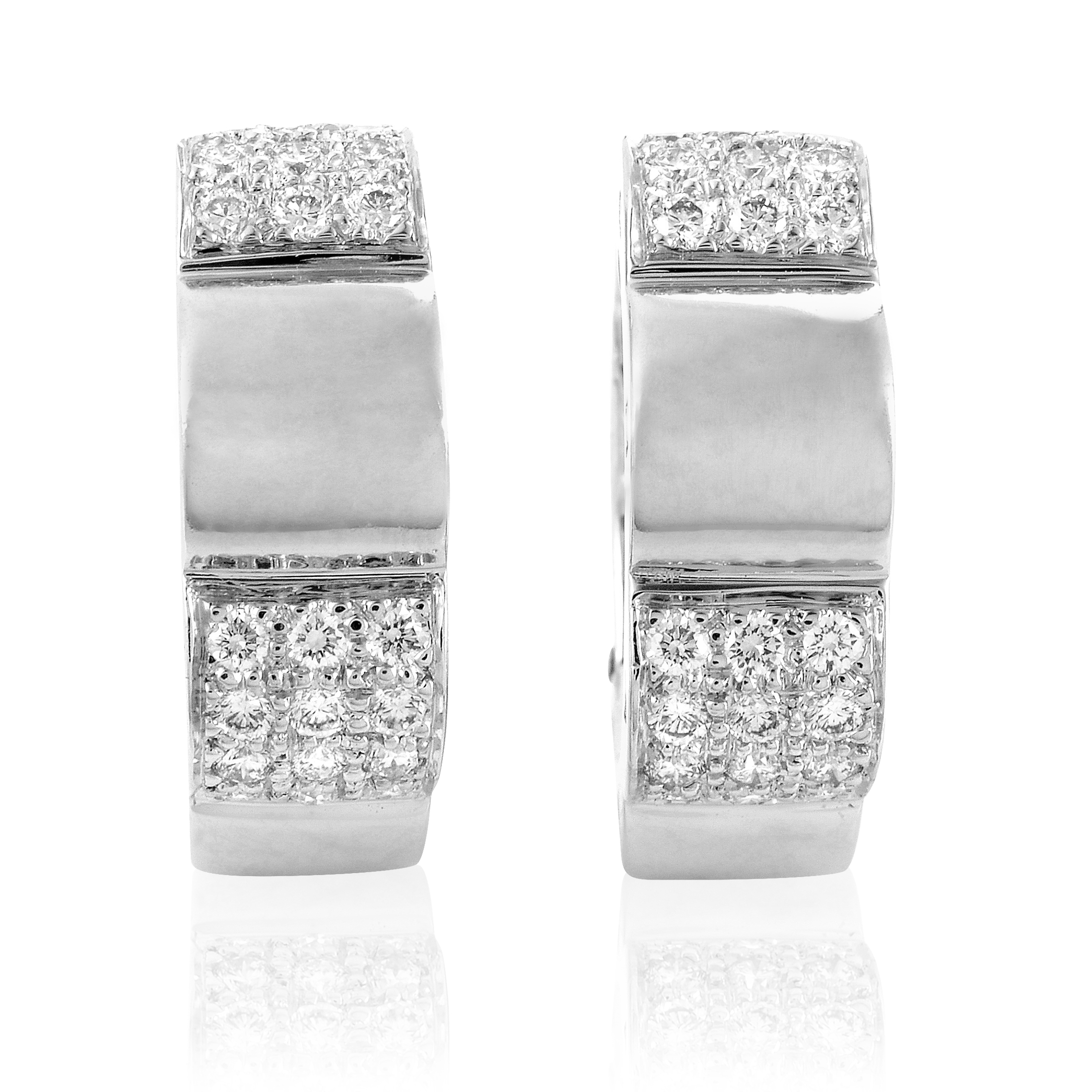 Chanel Women's Petite 18K White Gold Partial Diamond Pave Clip-on Hoop Earrings