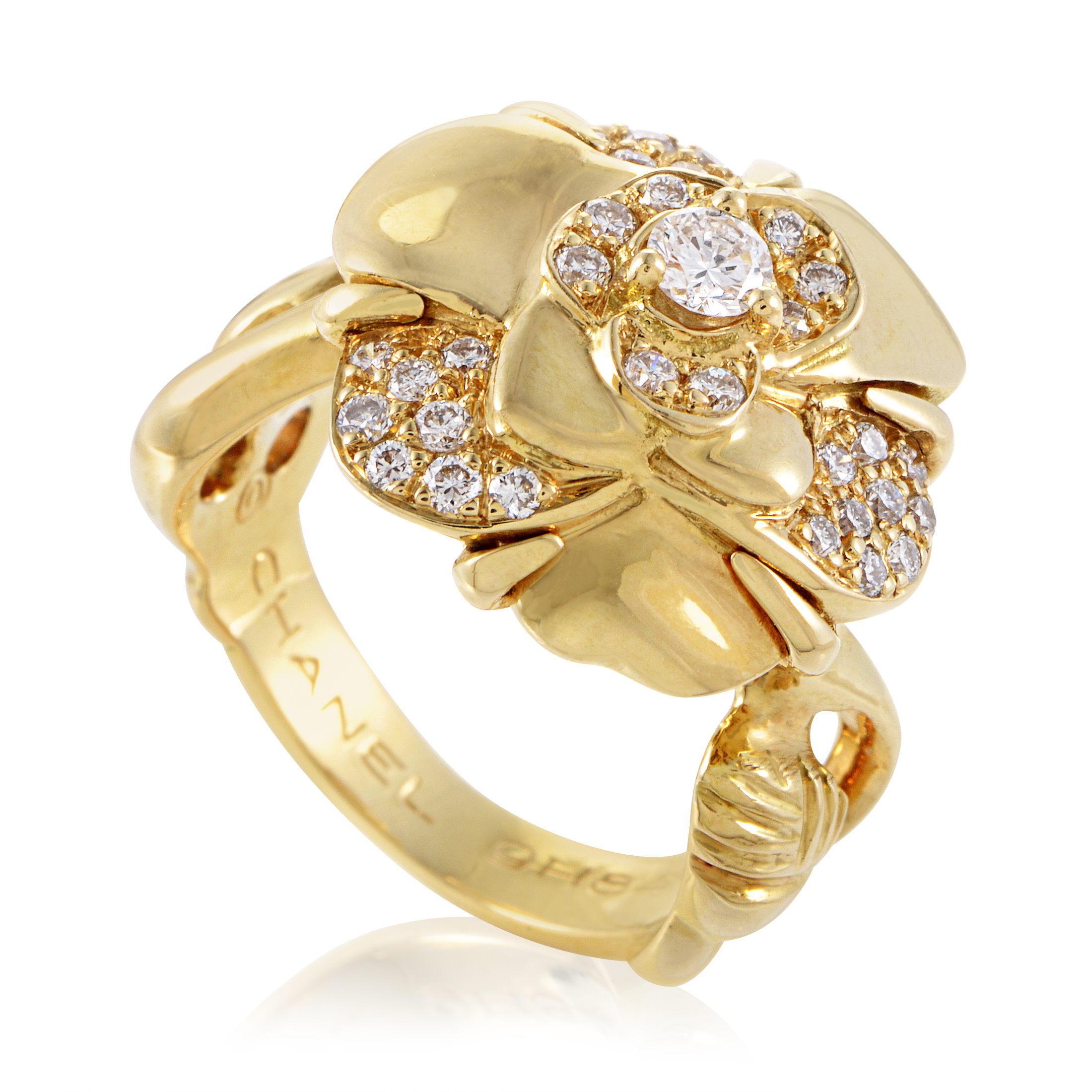 Chanel Camelia Women's 18K Yellow Gold Diamond Flower Ring