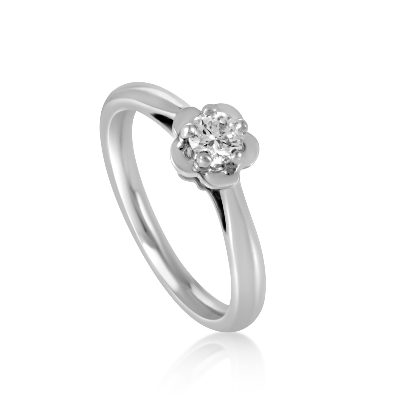 Chanel Camelia Platinum Diamond Solitaire Engagement Ring