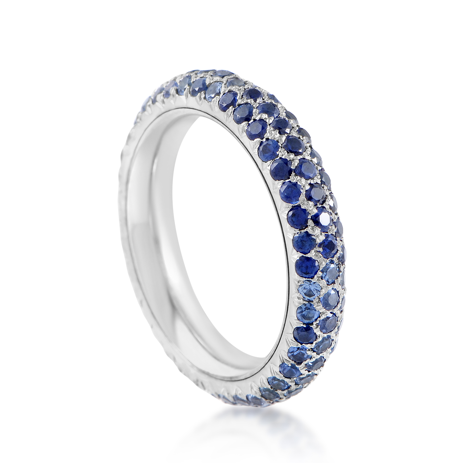 Chanel 18K White Gold Full Diamond & Sapphire Pave Band Ring