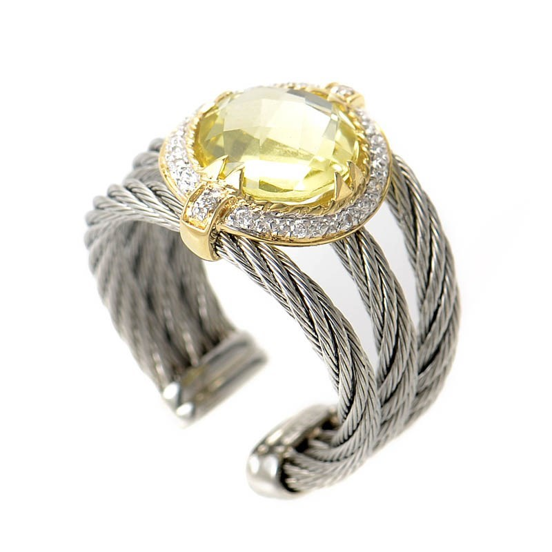 Stainless Steel & 18K Yellow Gold Celtic Cable Ring with Lemon Citrine
