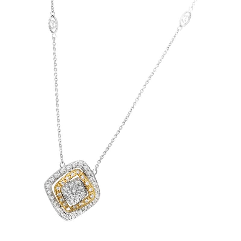 18K Multi-Gold Diamond Pendant Necklace 08-09-7244-11