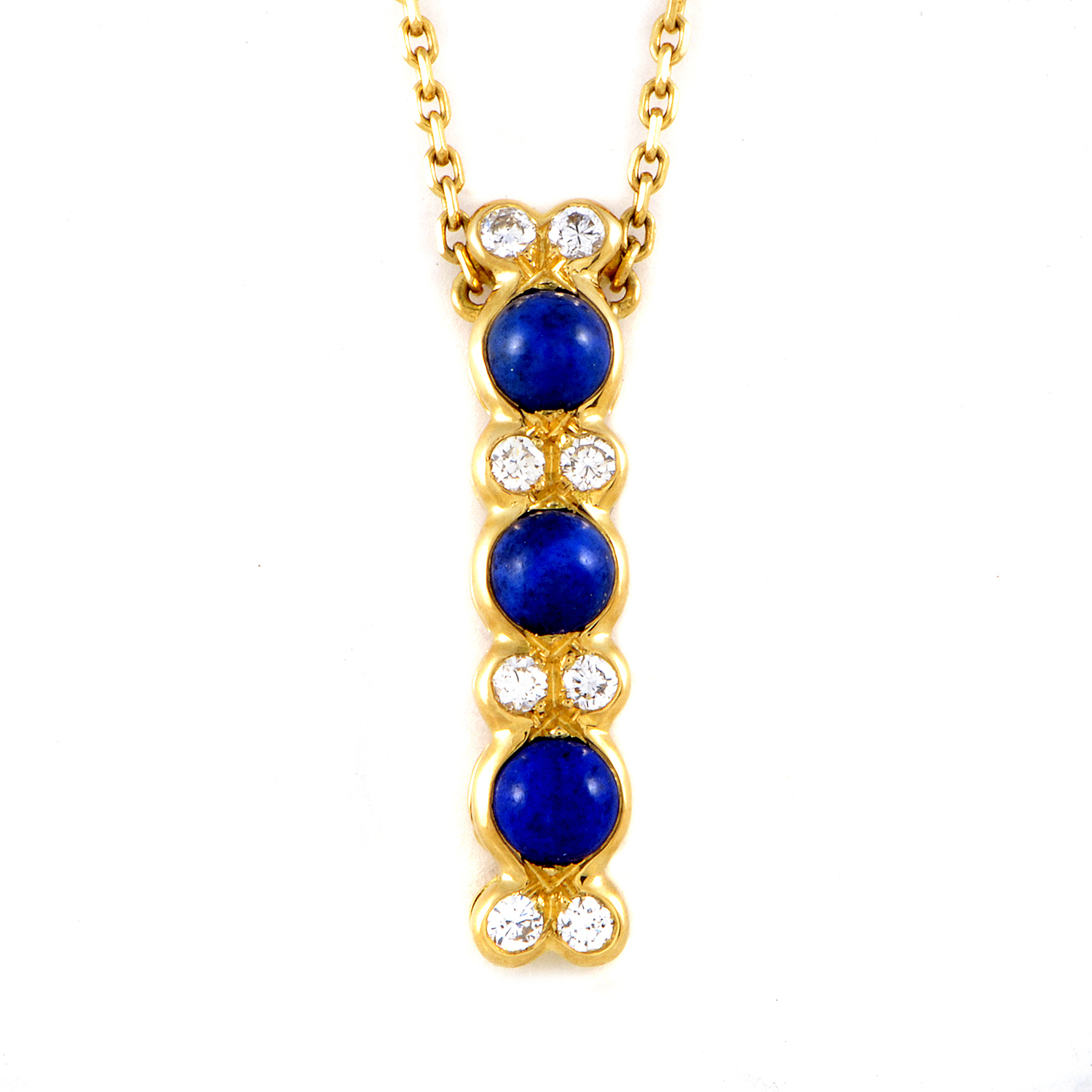 Chaumet Women's 18K Yellow Gold Diamond & Lapis Pendant Necklace