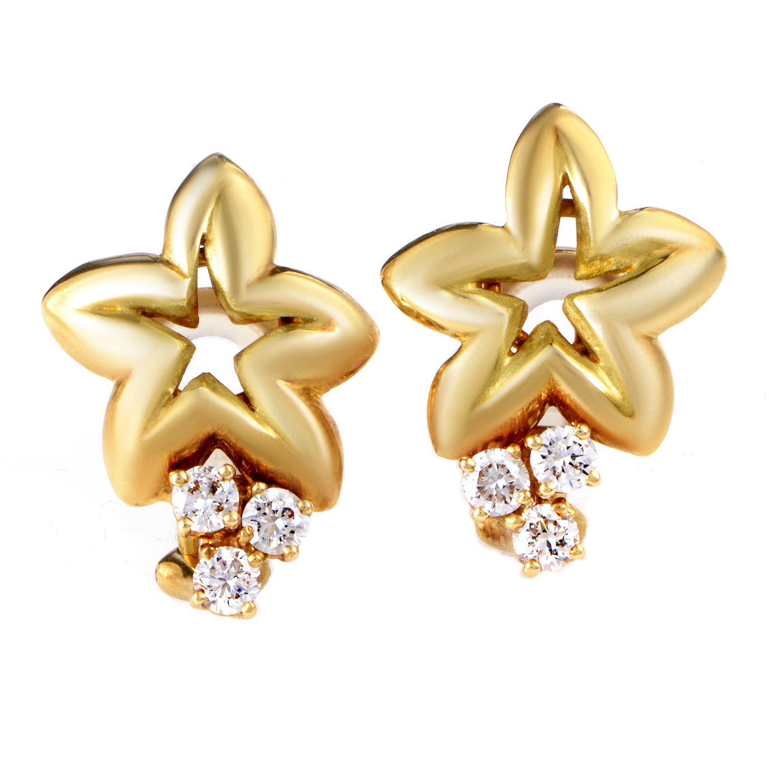 Chaumet 18K Yellow Gold Diamond Star Clip-On Earrings