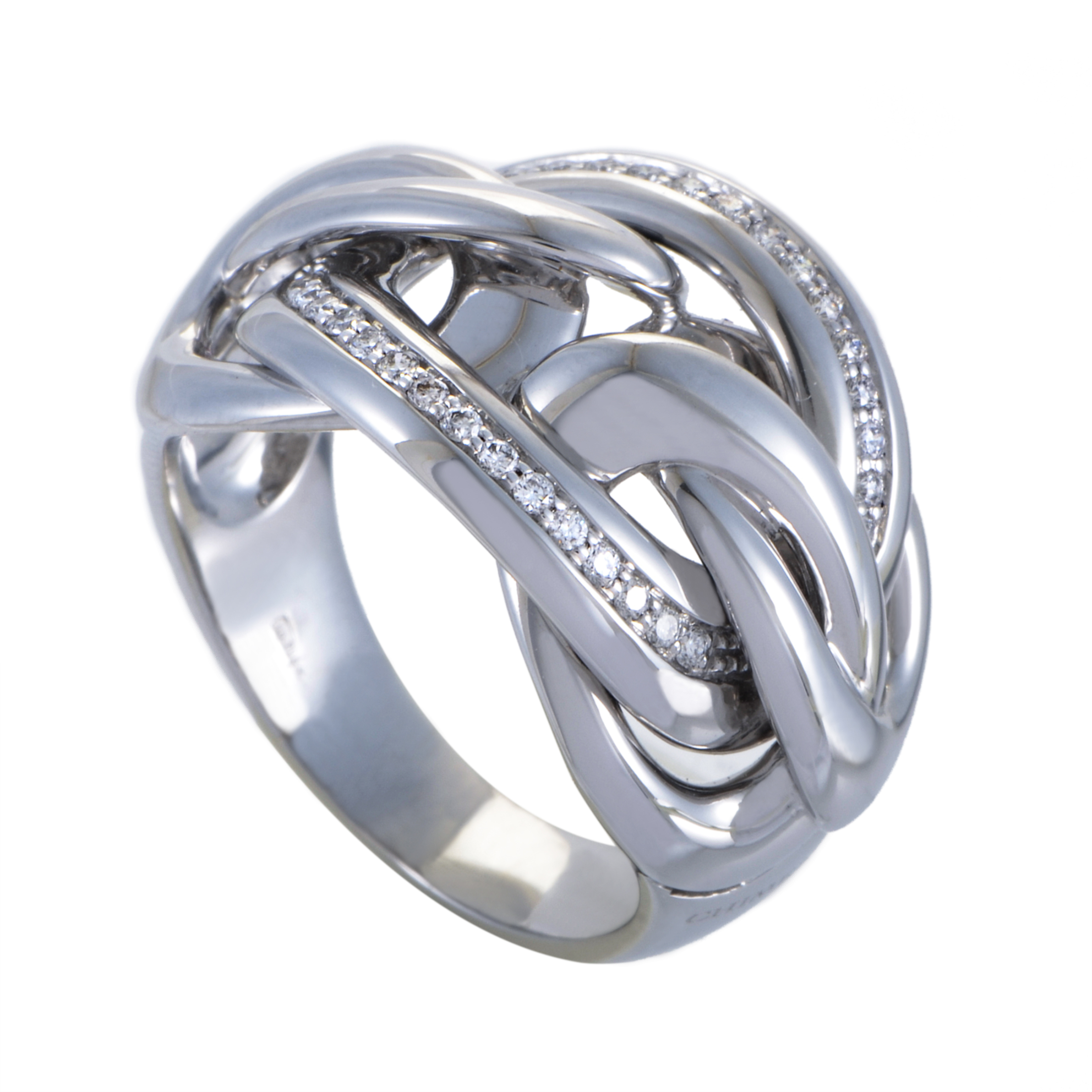 Eterea Womens 18K White Gold Knotted Diamond Ring