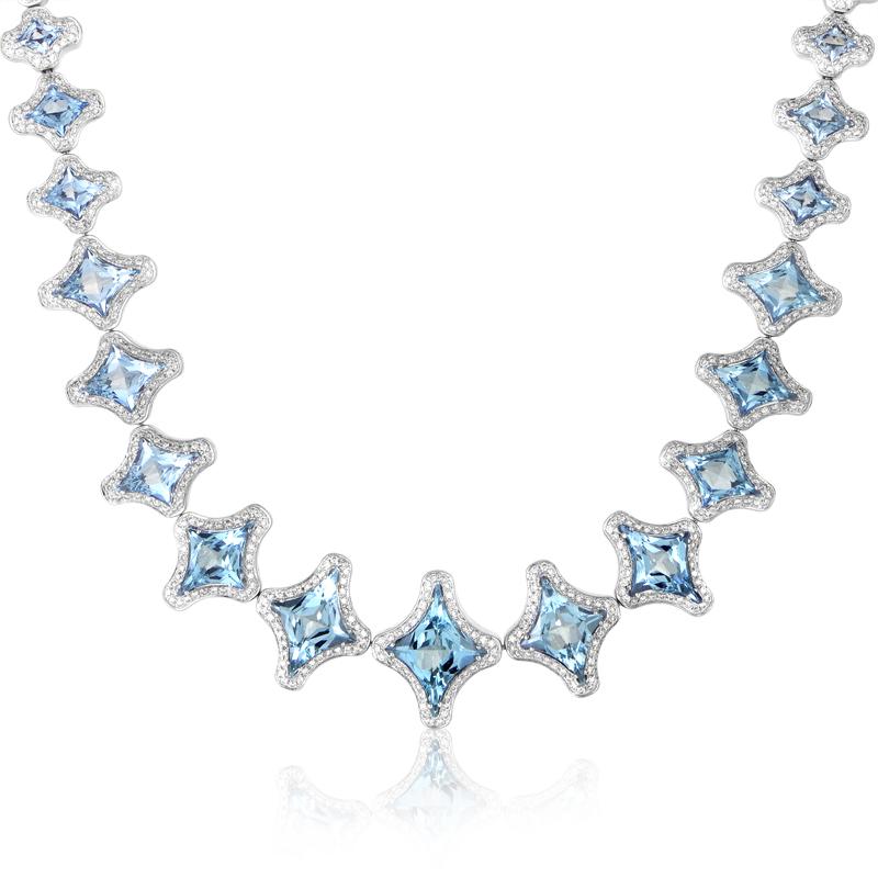 Marilyn Women's 18K White Gold Aquamarine & Diamond Necklace